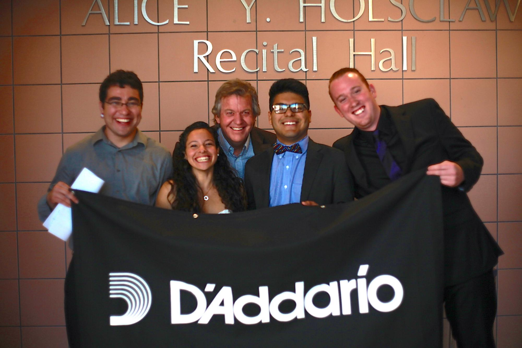 Patterson  with four prize winners of the Schaffer Competition. Left to right: Alfredo Vasquez, Cathy Accosta-Zavala, George Ramirez and Steve Lerman.