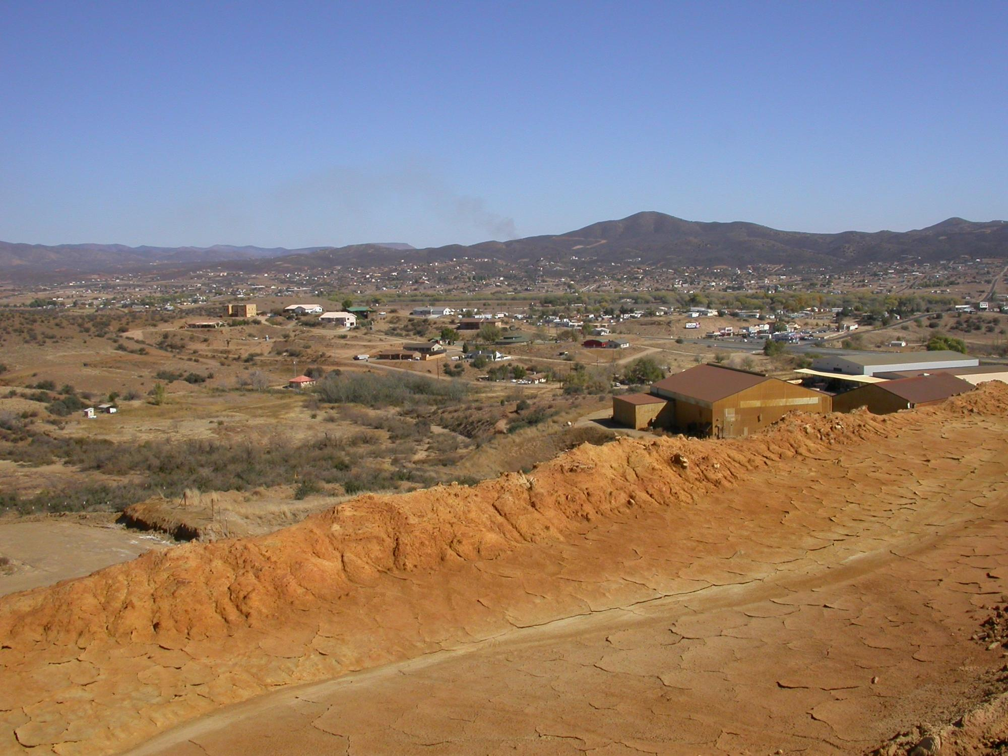 A view of the town of Dewey-Humboldt from the top of the Iron King mine tailings pile in Yavapai County.
