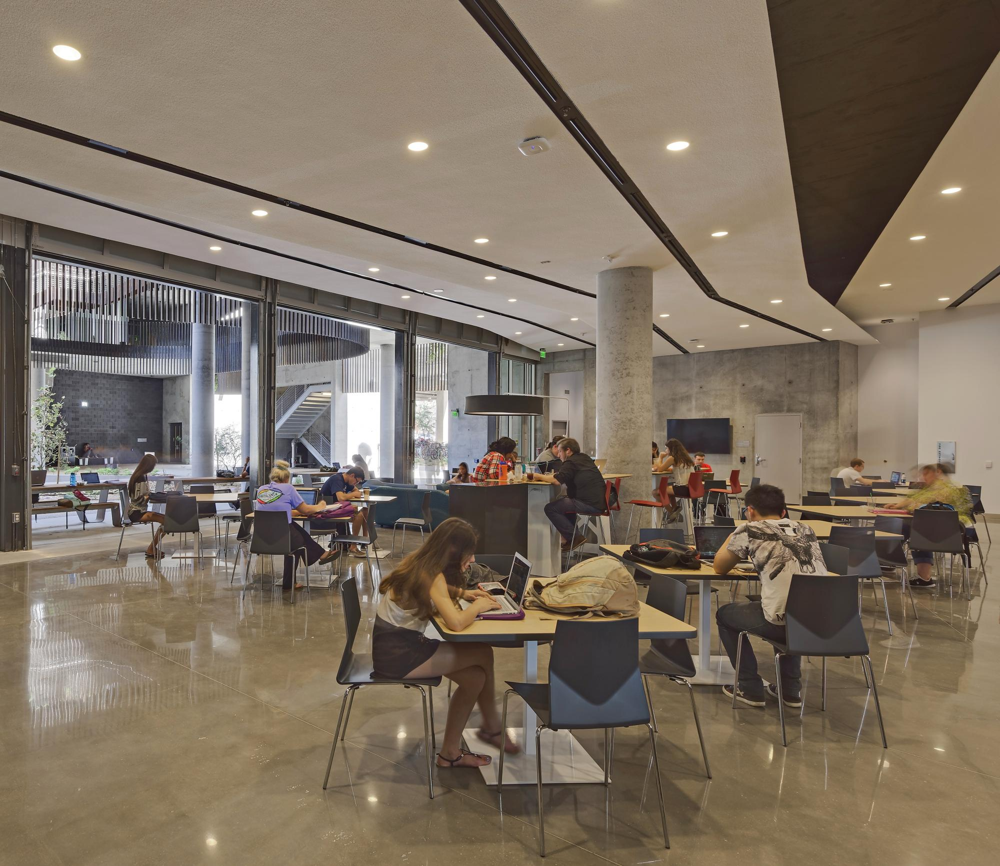 ENR2 has a UA Student Unions-operated café, the Slot Canyon Café. ENR2 is also home to the Institute of the Environment, School of Geography and Development, School of Natural Resources and the Environment, and certain divisions of the Department of Mathe