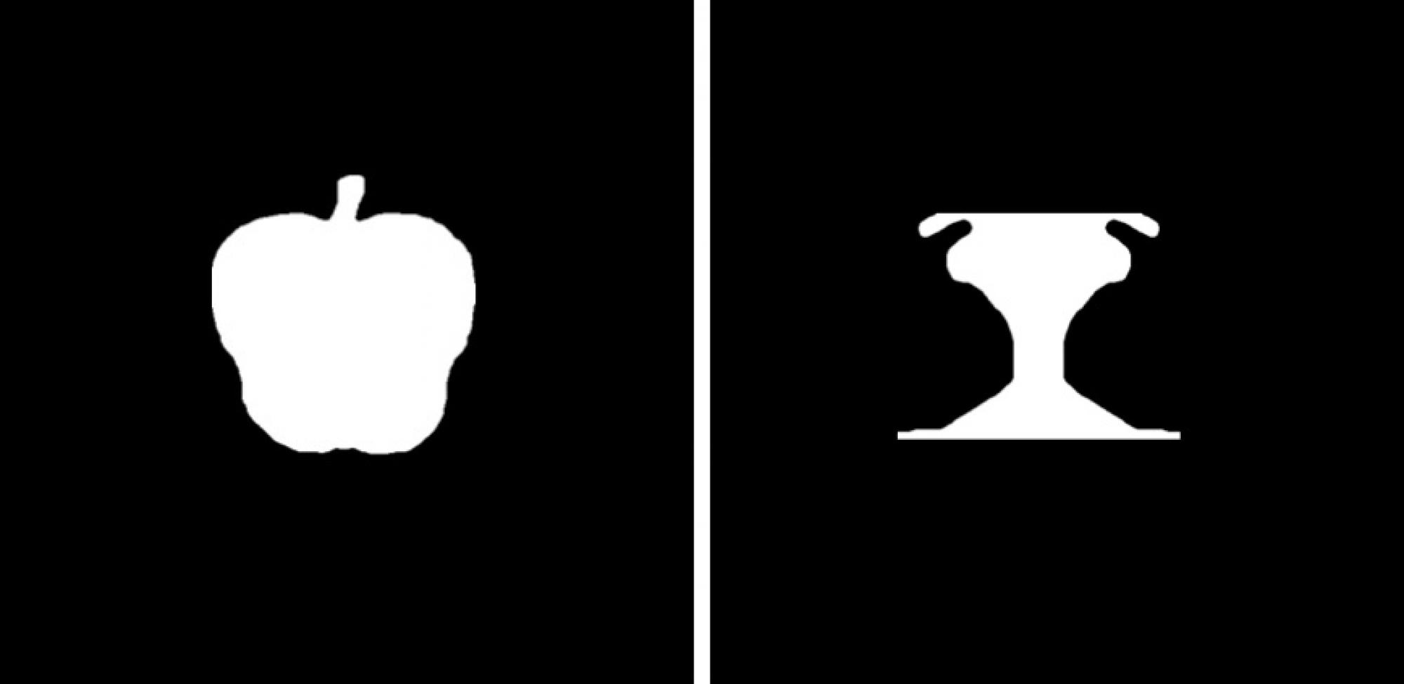 The image on the left depicts a familiar object - an apple - while the one on the right shows a novel object that doesn't suggest anything familiar on the outside of the left and right borders.