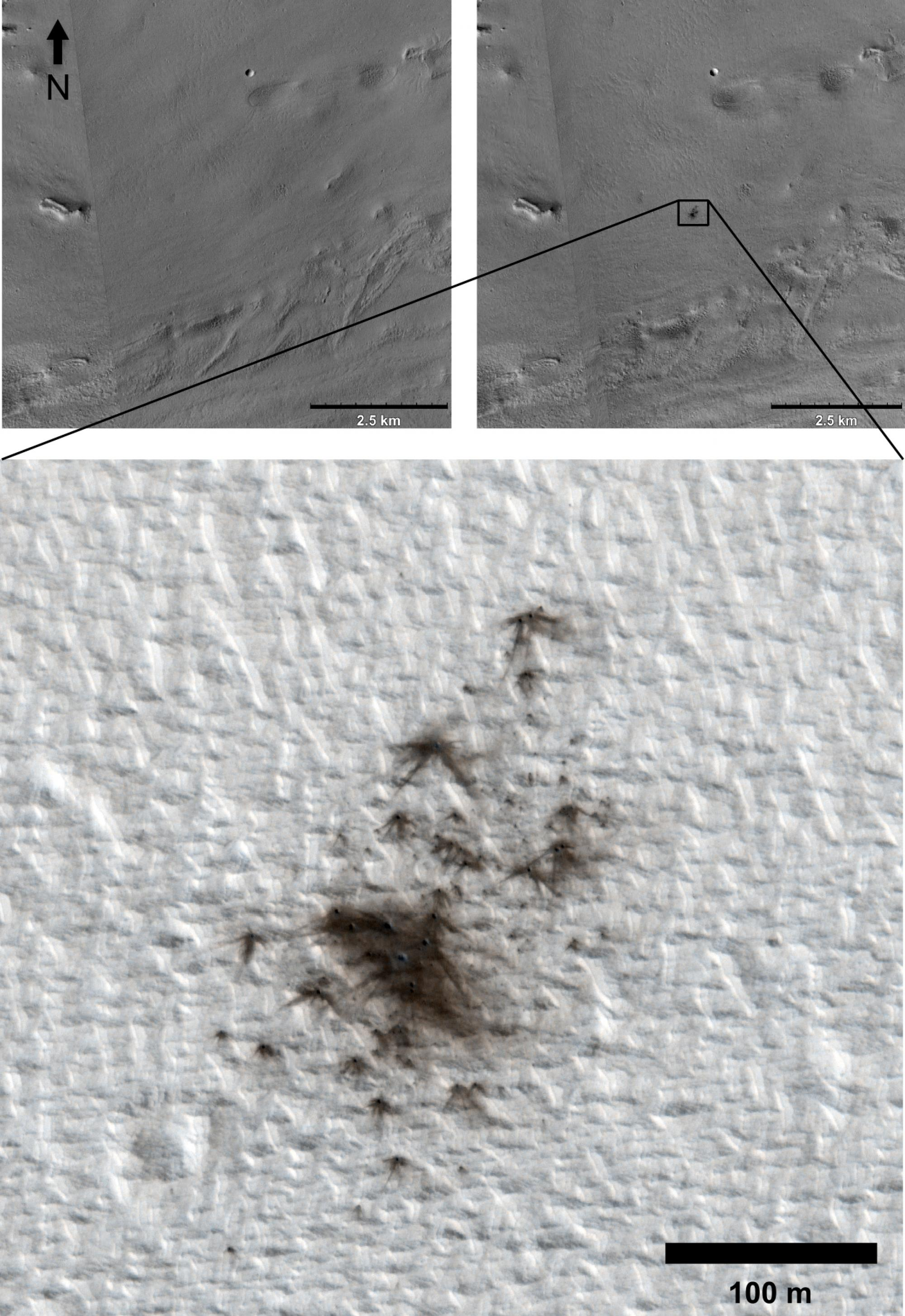 Images taken by the UA-led High Resolution Imaging Experiment, or HiRISE, reveal new impact craters that formed between 2010 and 2011.