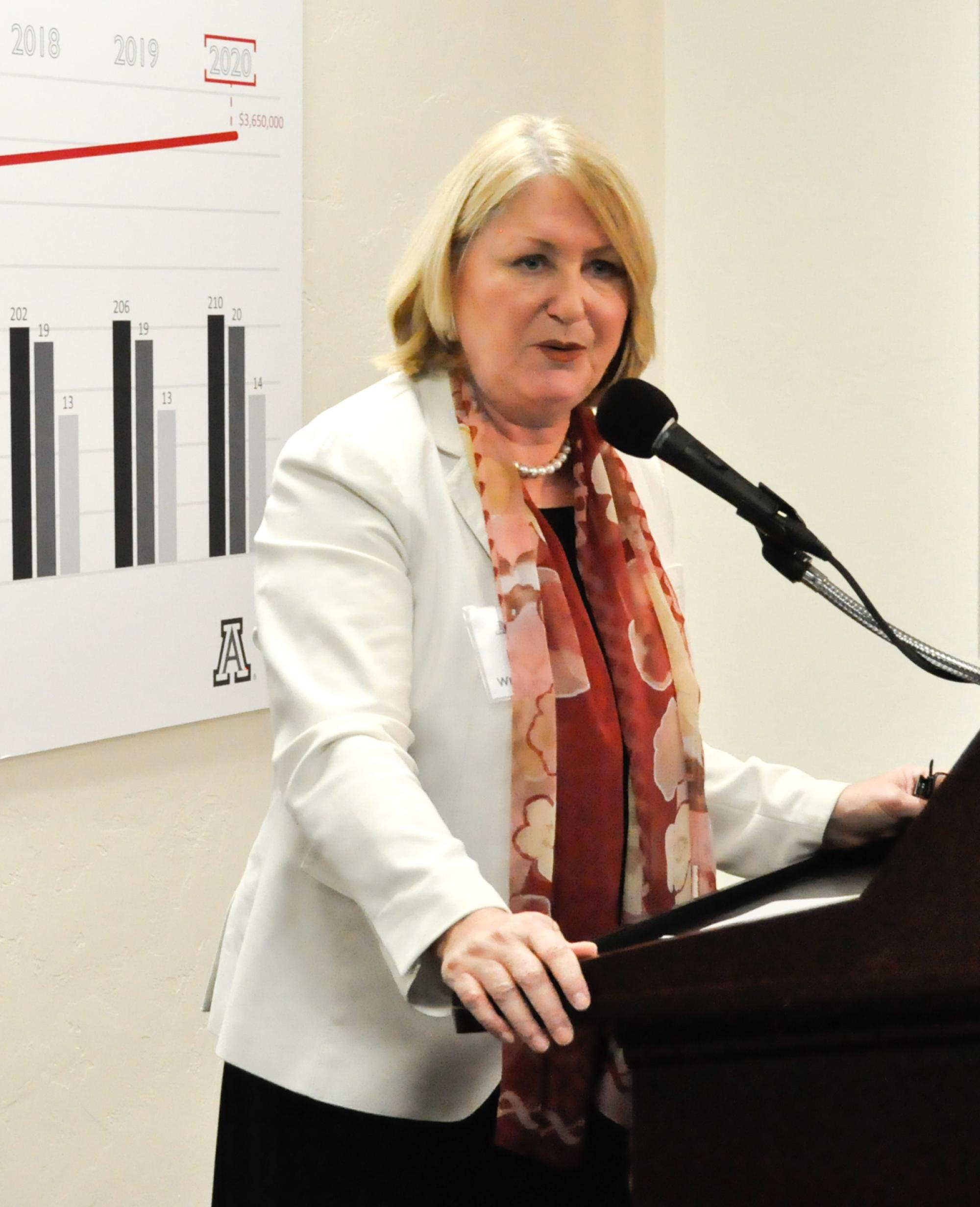 """UA President Ann Weaver Hart discussed the value of """"disruptive innovation"""" during Monday's Tech Launch Arizona grand opening."""