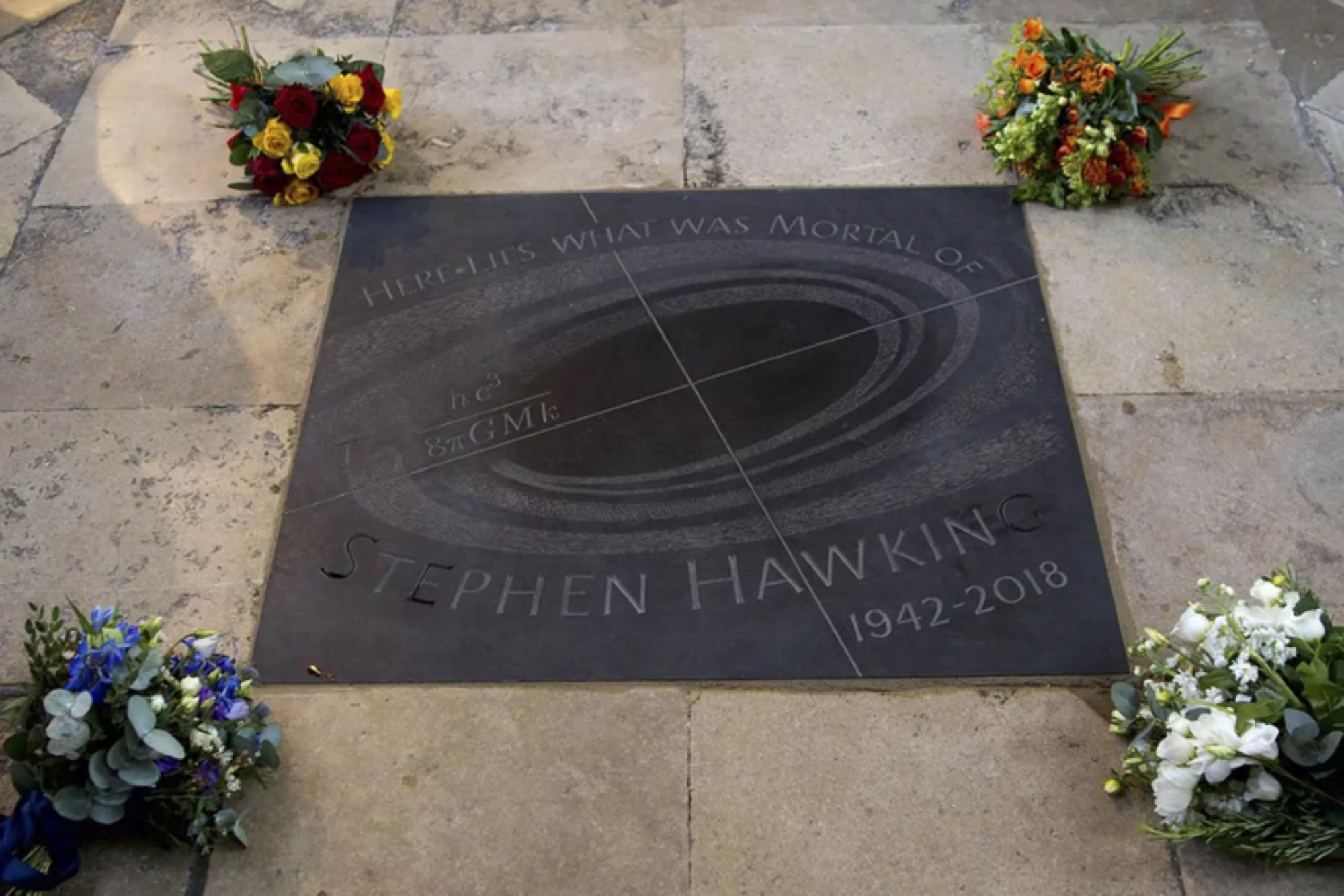 "Hawking was interred beneath a stone with the inscription, ""Here lies what was mortal of Stephen Hawking,"" which is an English translation of the Latin words on the nearby grave of Sir Isaac Newton. The stone is also inscribed with one of Hawking's equati"