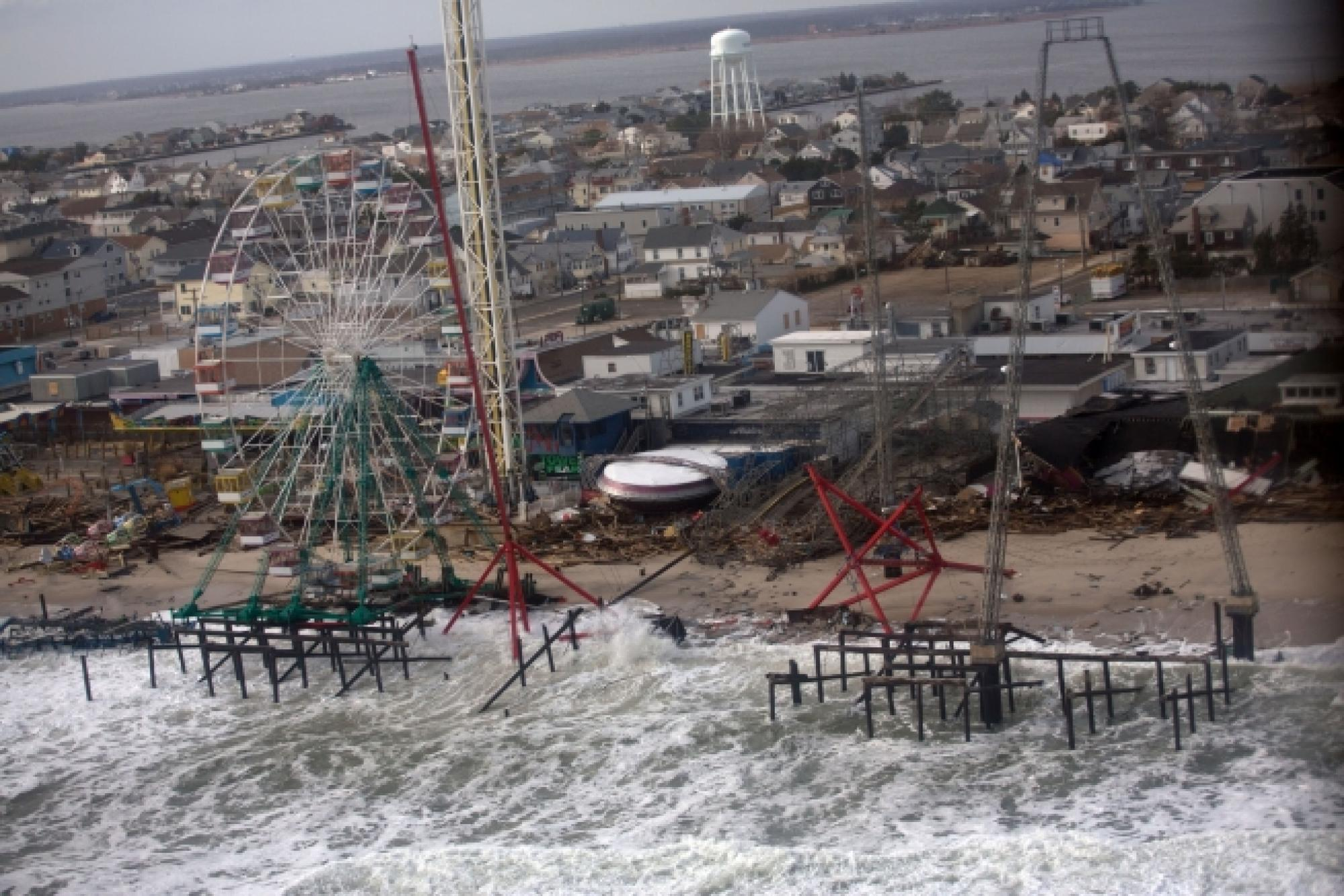 The view from an aerial tour of Hurricane Sandy's damage of New Jersey's barrier beaches taken Nov. 18, 2012, during Vice President Joe Biden's visit to survey the storm damage.