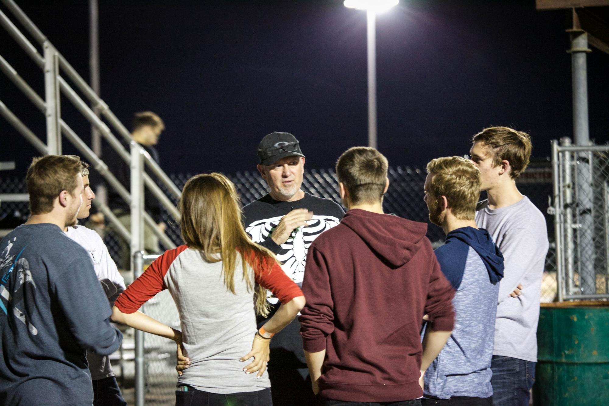 UA Engagement Faculty Fellow Ed Prather , who has an interest in car and motorcycle racing and is himself a racer, hosts a Kart Night with students.