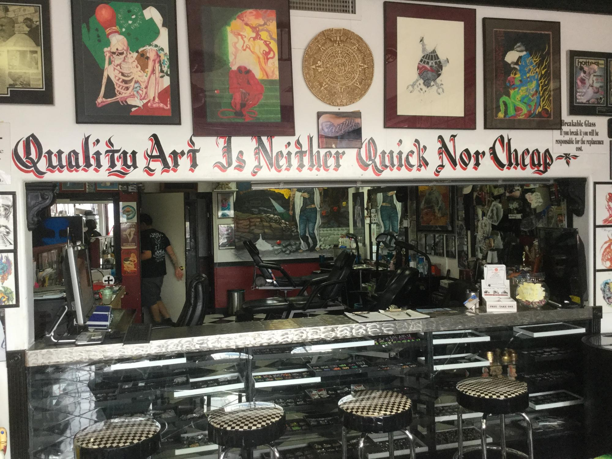 """""""After initial hard luck in reaching those for whom we'd been given contact information, one of our group members suggested that we broaden our definition of 'artist.' After some googling and a phone call, we set up an interview with one of the tattoo art"""