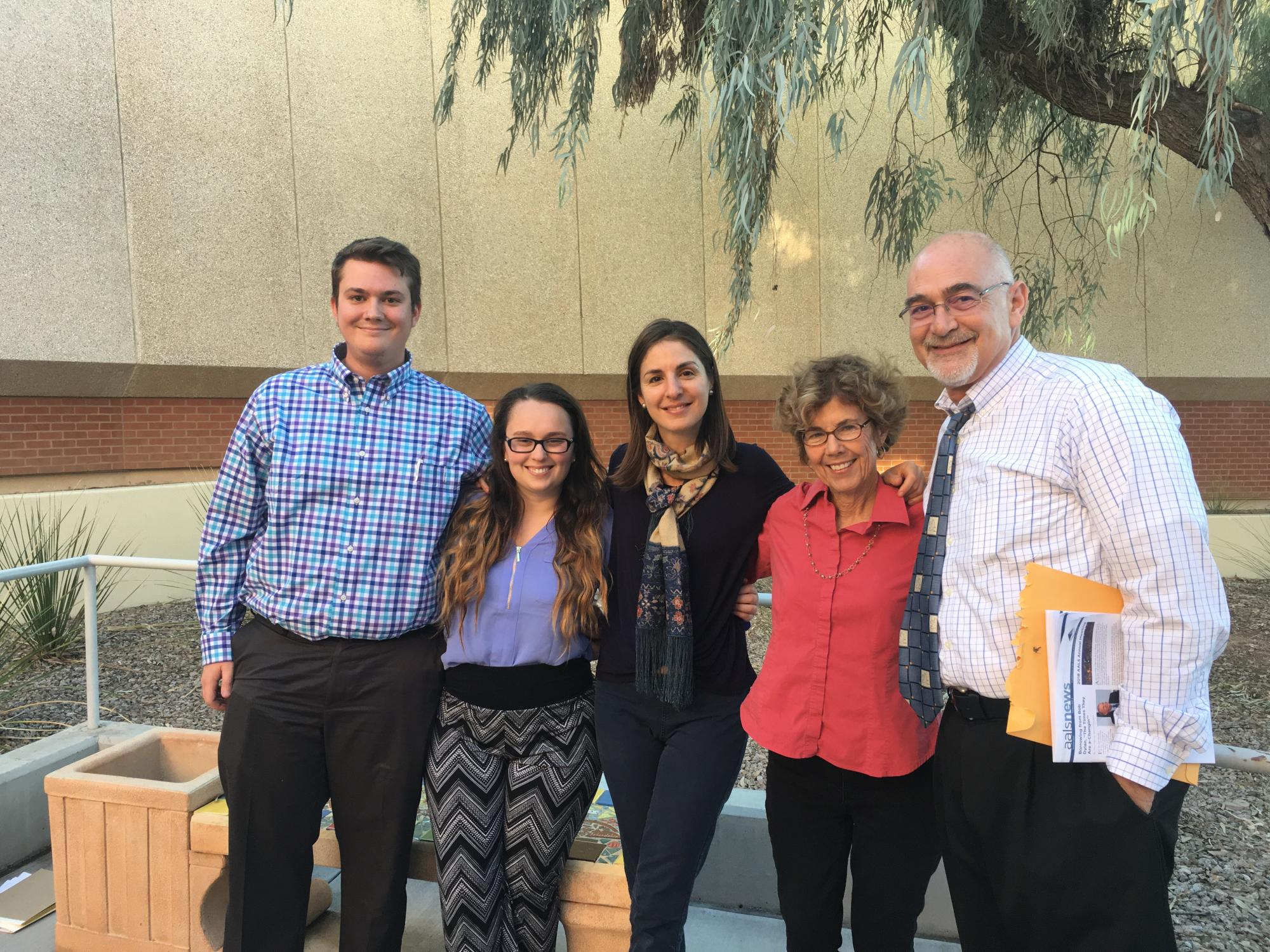 Amicus brief authors at the Arizona Supreme Court: UA students Chris Lloyd and Natalie Cafasso, and UA faculty Negar Katirai, Barbara Atwood and Paul Bennett.