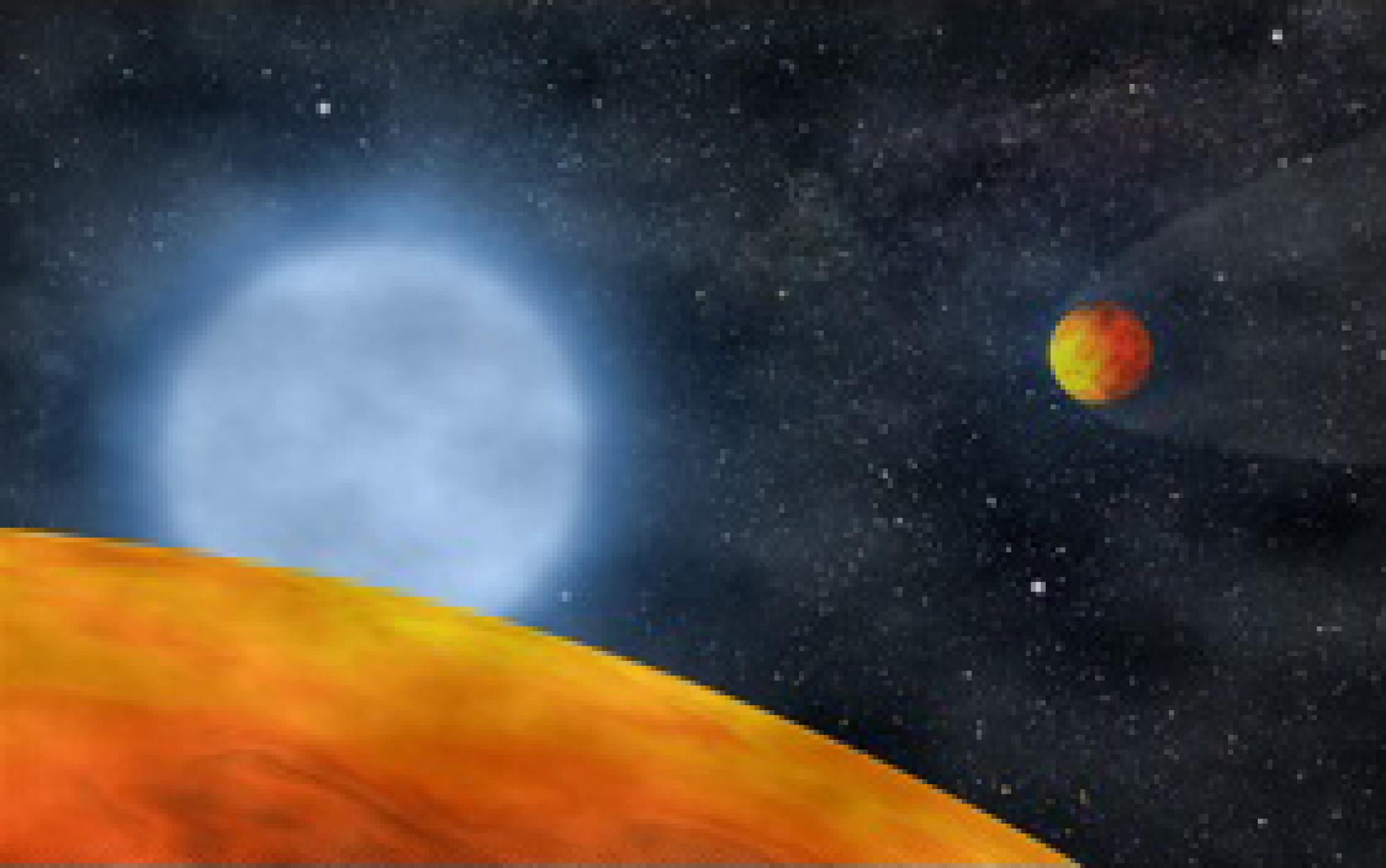 Artist's rendition of two hot Earth-sized planets orbiting a subdwarf B star.