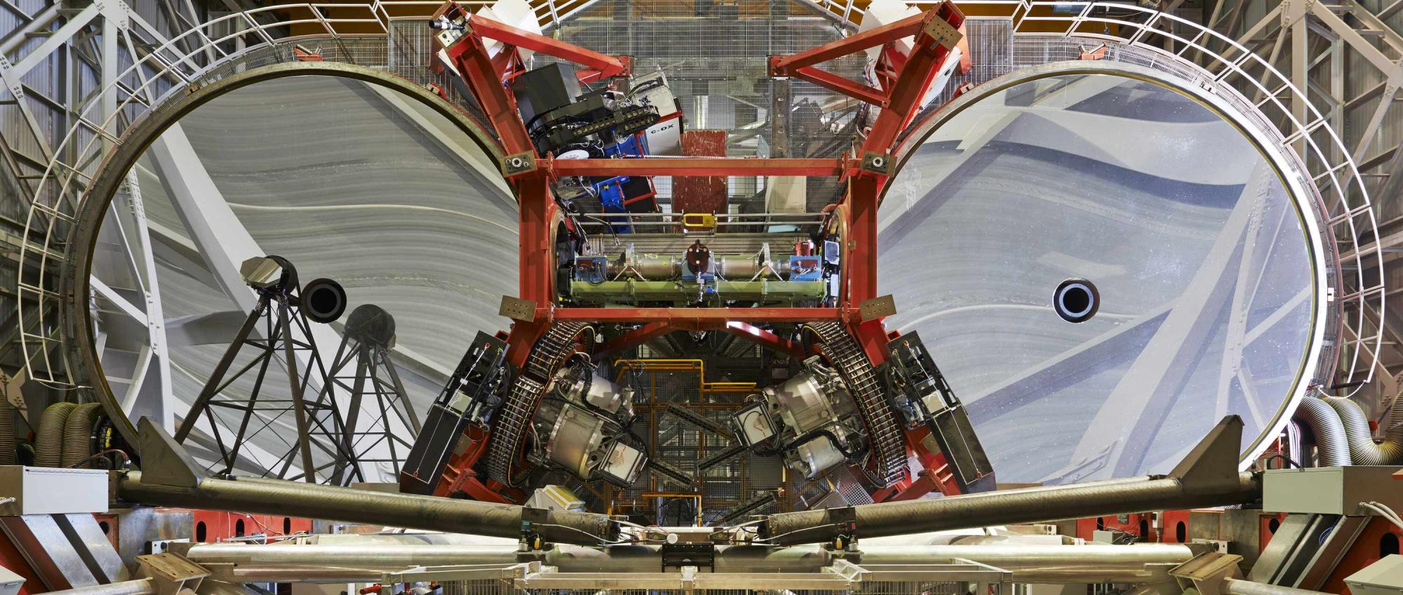 The Large Binocular Telescope Interferometer  between the two 8.4m mirrors of the LBT.