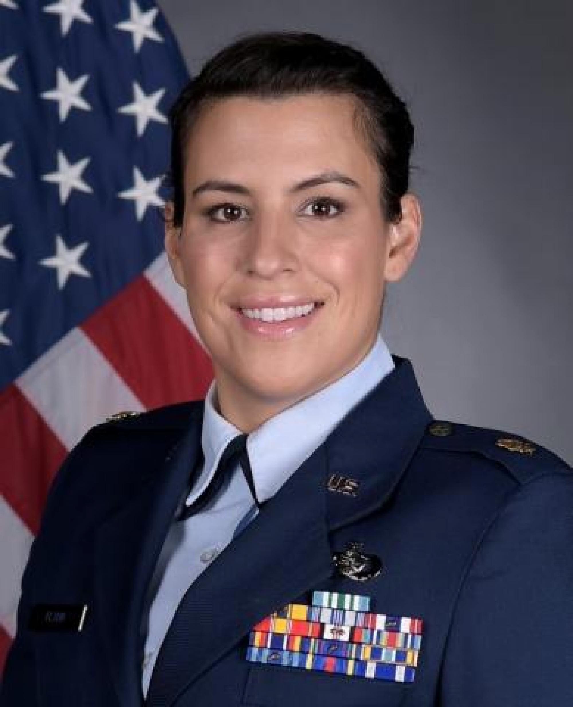 As an assistant professor, Maj. Christina Flynn teaches courses on aerospace studies at the UA. As an officer in the ROTC program, she teaches cadets the core values that will help them succeed in the military and in life.