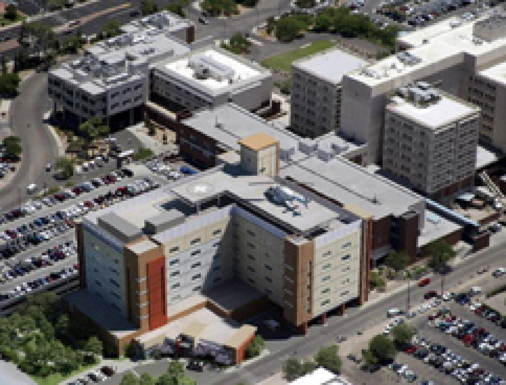 The new UMC emergency department and trauma center occupy the ground floor of a new tower that will house the Diamond Children's Medical Center on the top three floors.