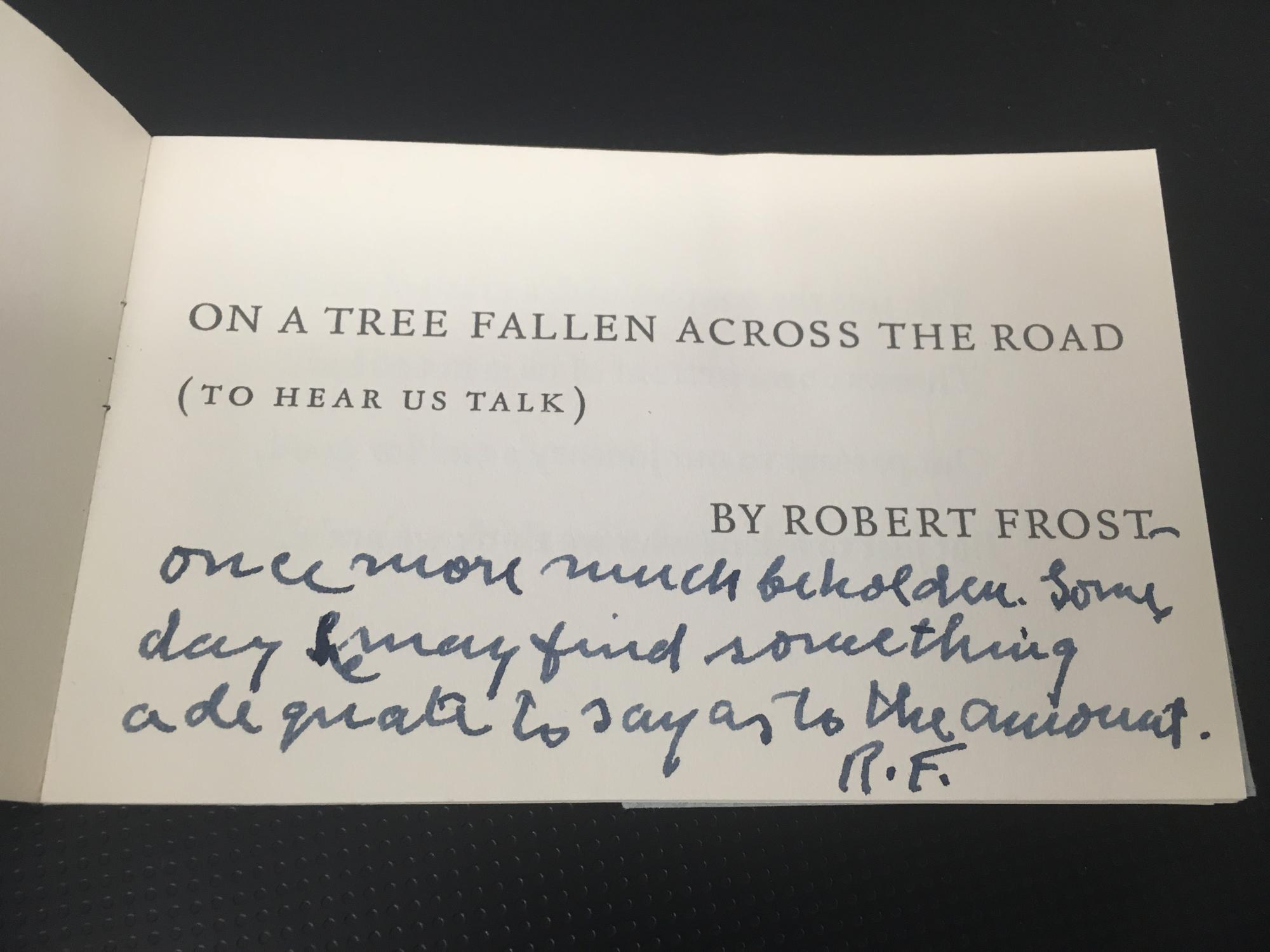 Robert Frost Christmas Card, with a personal greeting.