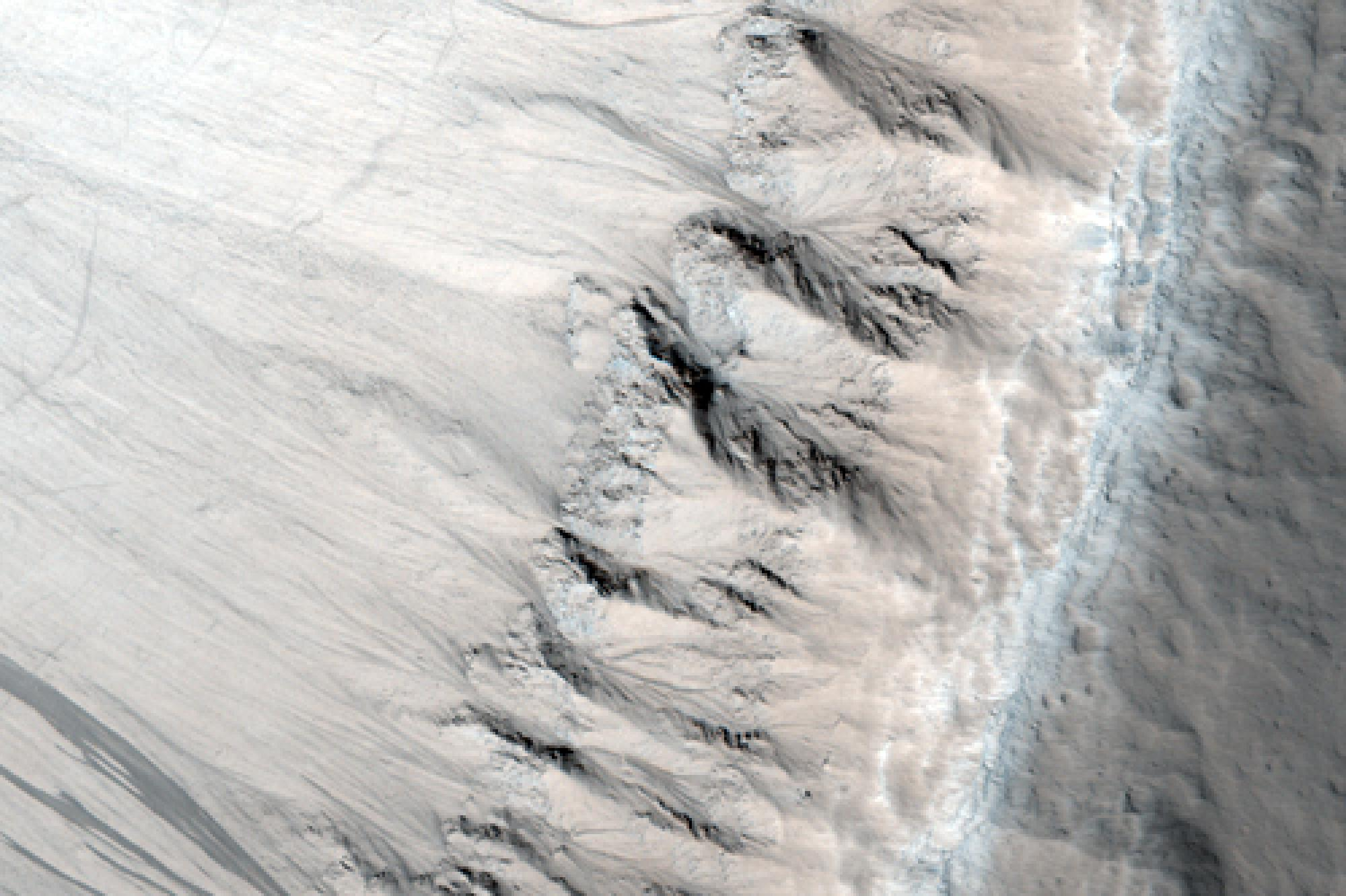 """This HiRISE image shows a part of a 10-mile-diameter crater near Marte Valles, Mars, where scientists discovered the """"jointed"""" columnar rocks, or joints that formed as cooling lava contracted."""