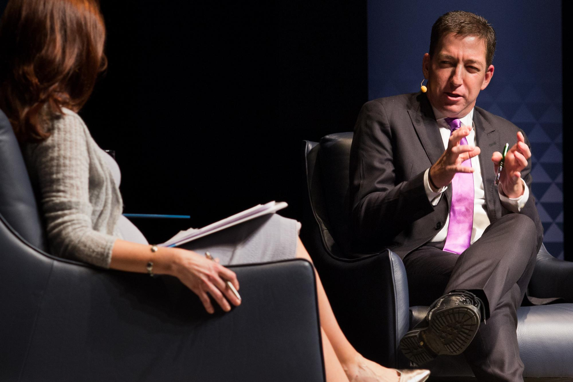Journalist Glenn Greenwald responds to a question from moderator Nuala O'Connor.