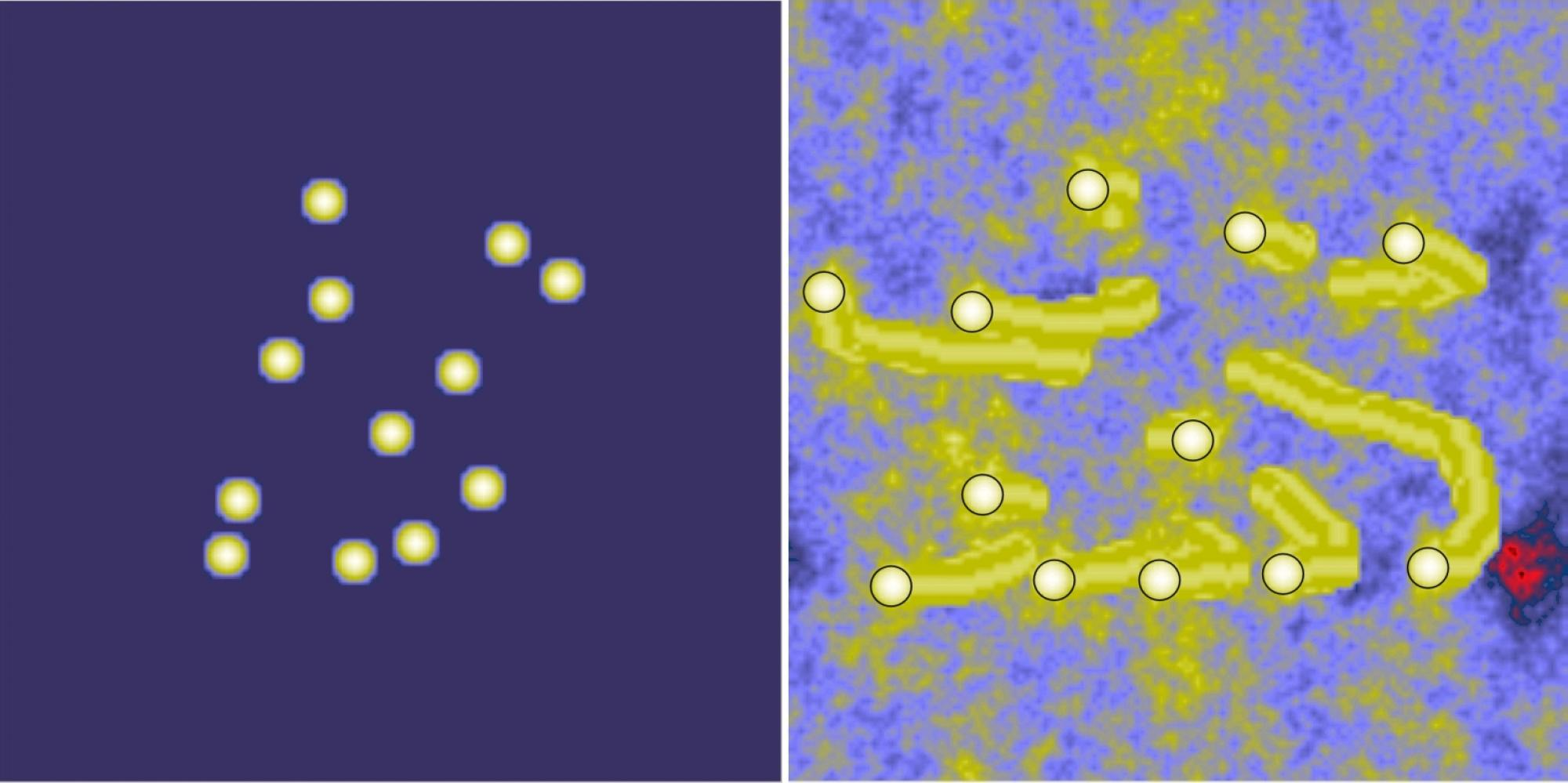 These images are from the computer simulations. The white dots on the left show the starting position of the rocks. The image on the right shows the final spacing of the rocks after the simulation has run. The yellow streaks behind the rocks represent the