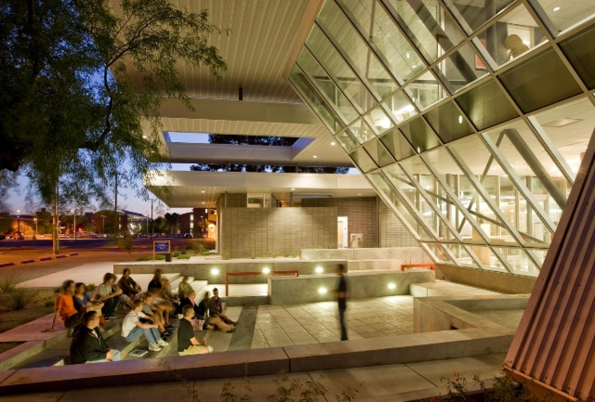 The building has both indoor and outdoor seating areas, such as the Hillman Odeum.
