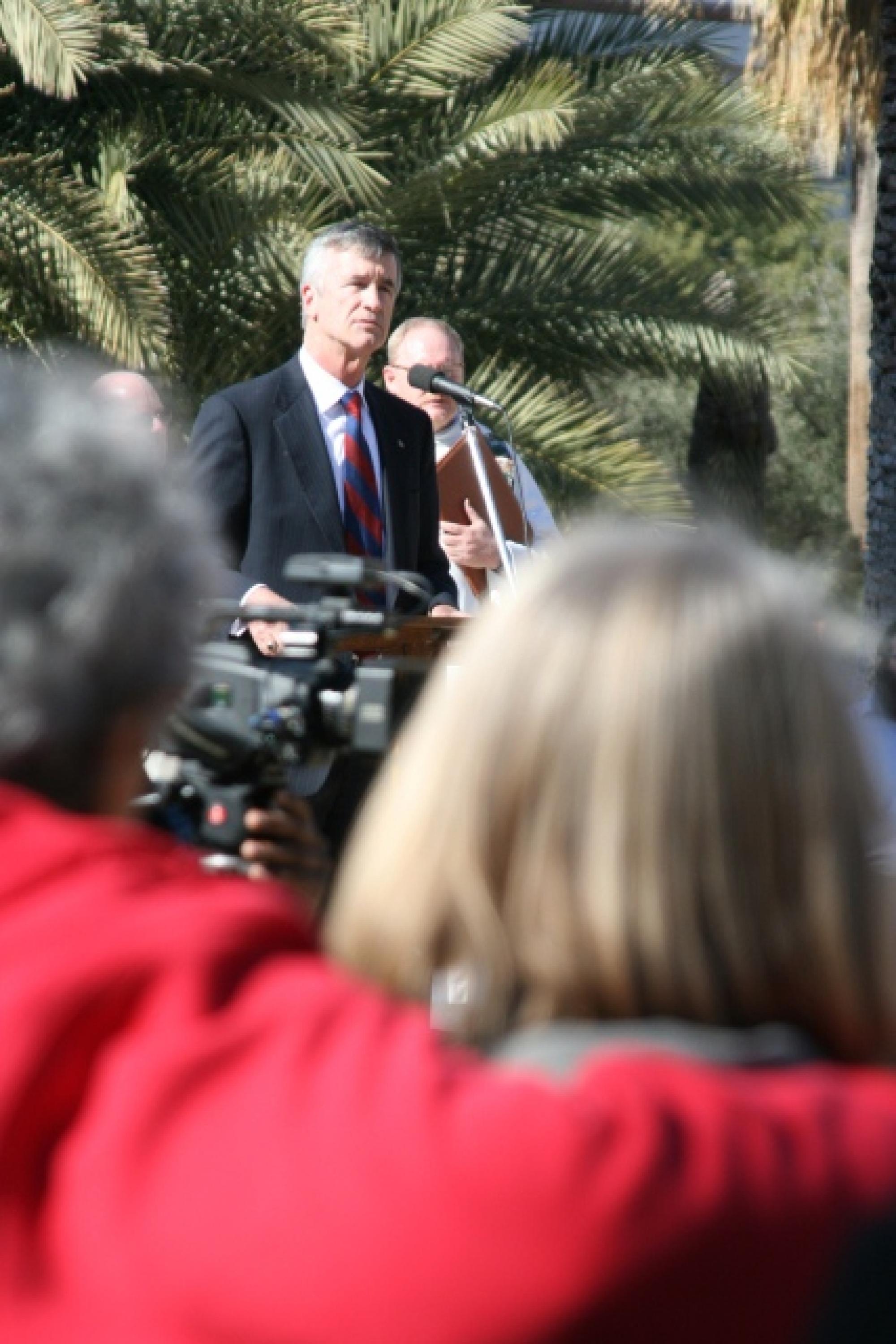 "UA President Robert N. Shelton spoke on the UA Mall Wednesday. Shelton said: ""It is important that we grieve, and it is important that we grieve together."""
