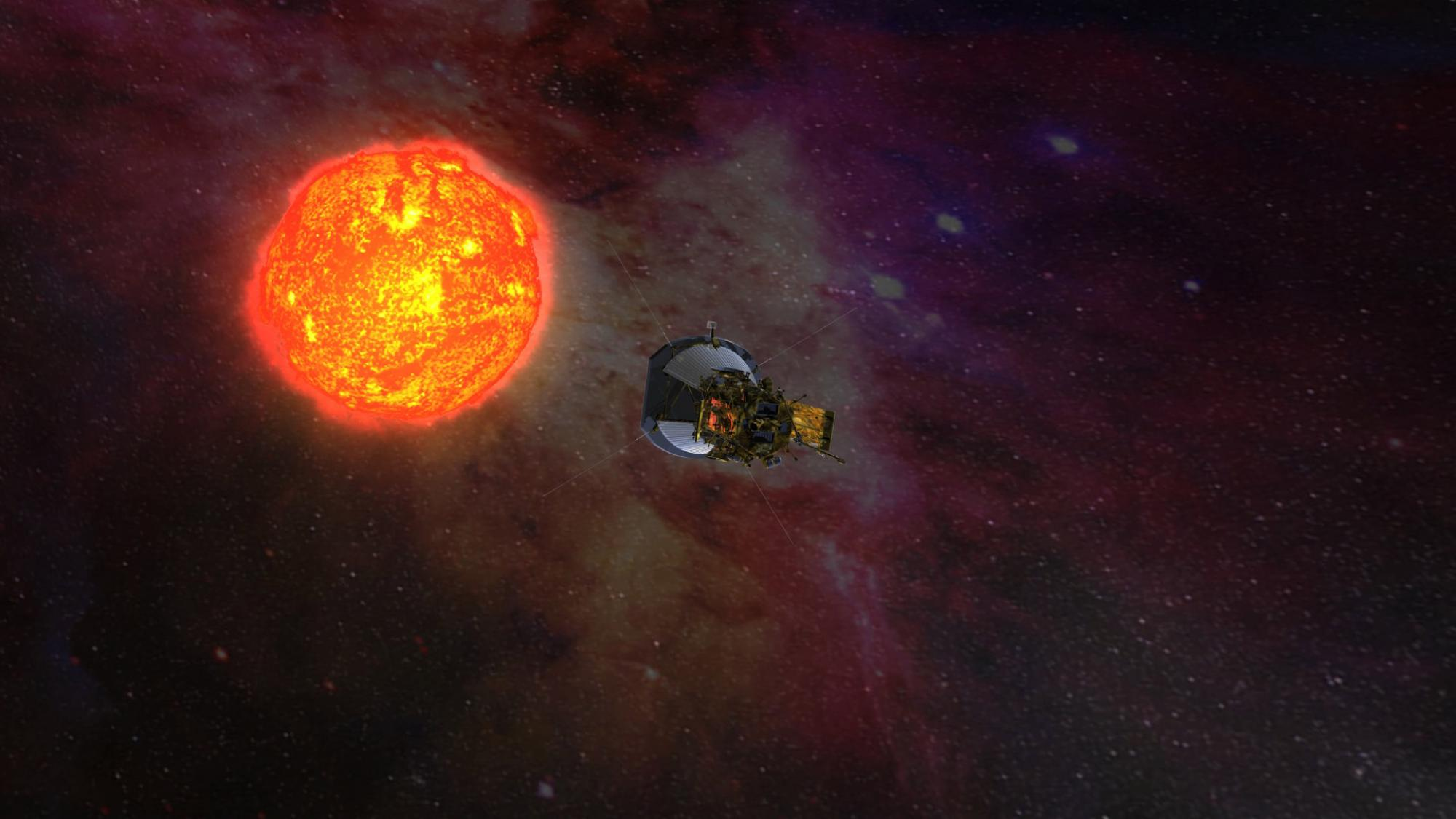 Artist rendering of Parker Solar Probe, solar panels folded into the shadows of its protective shield, as it gathers data on its approach to the sun. Credits: NASA/JHUAPL