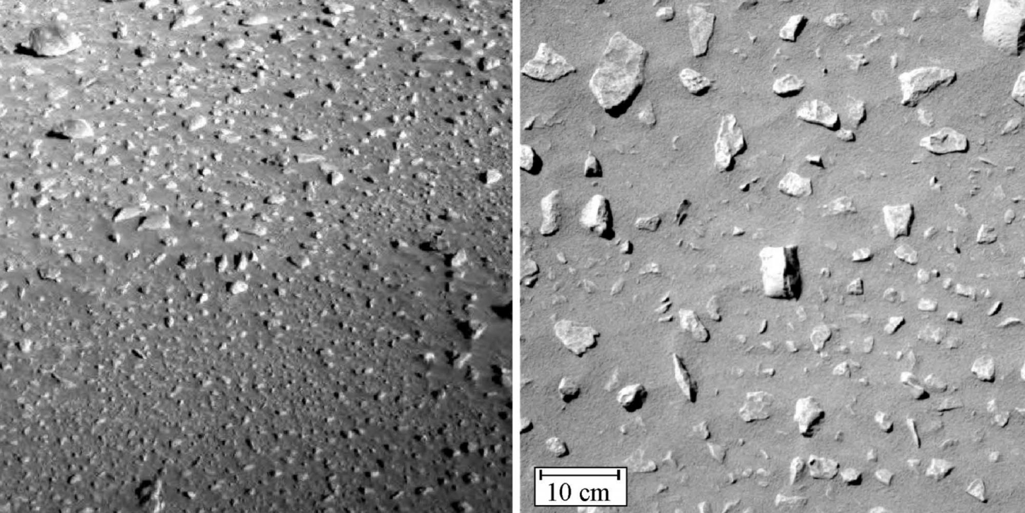 These Spirit Rover camera images of the intercrater plain between Mars' Lahontan Crater show uniformly spaced small rocks, known as clasts.