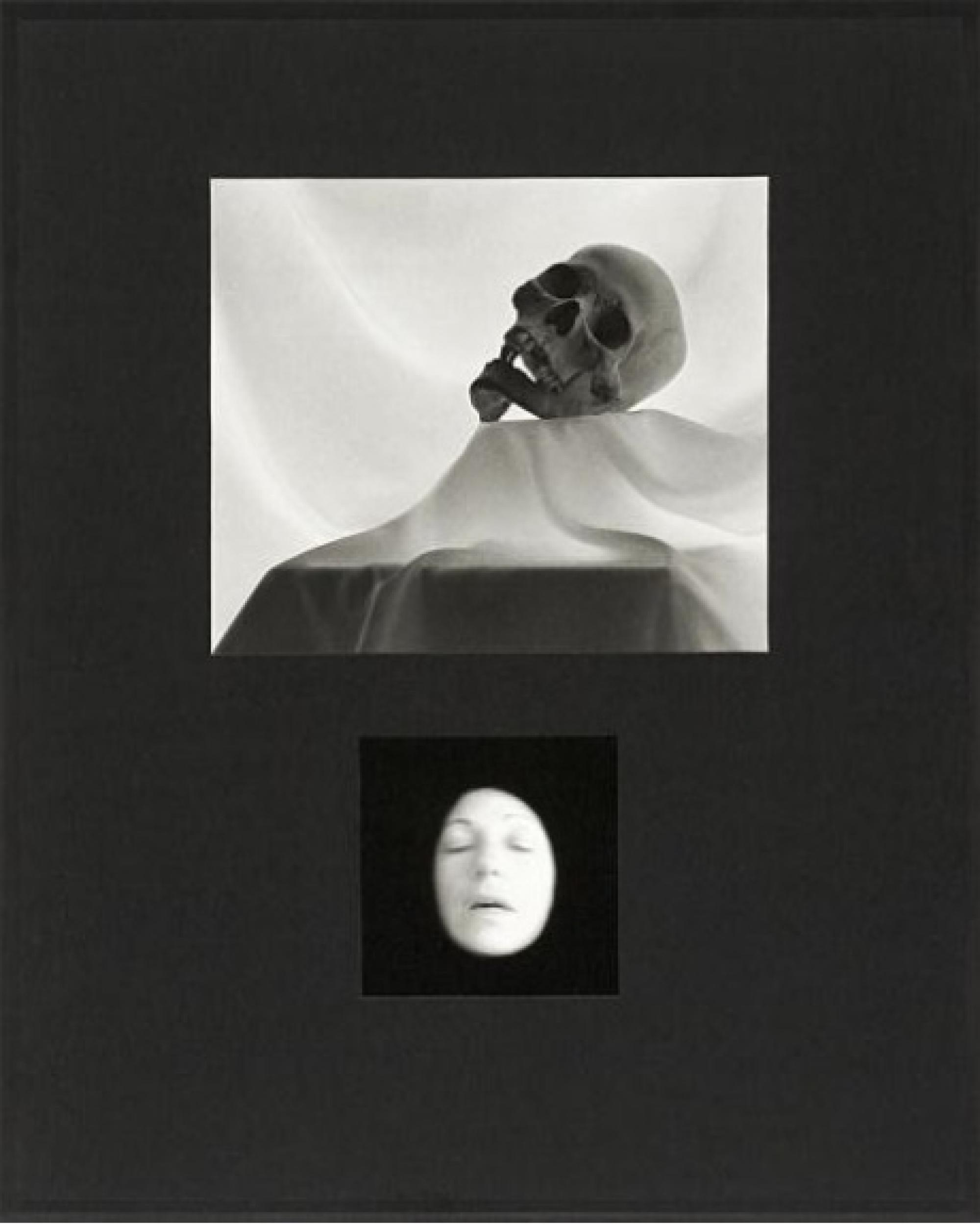 Dispossession  is a series of 12 composite works in which human skulls are set against a luminous white fabric, in counterpoint with Stern's face portrayed as a death mask beneath them. The theme of Dispossession is not actual death, but the mind's preocc