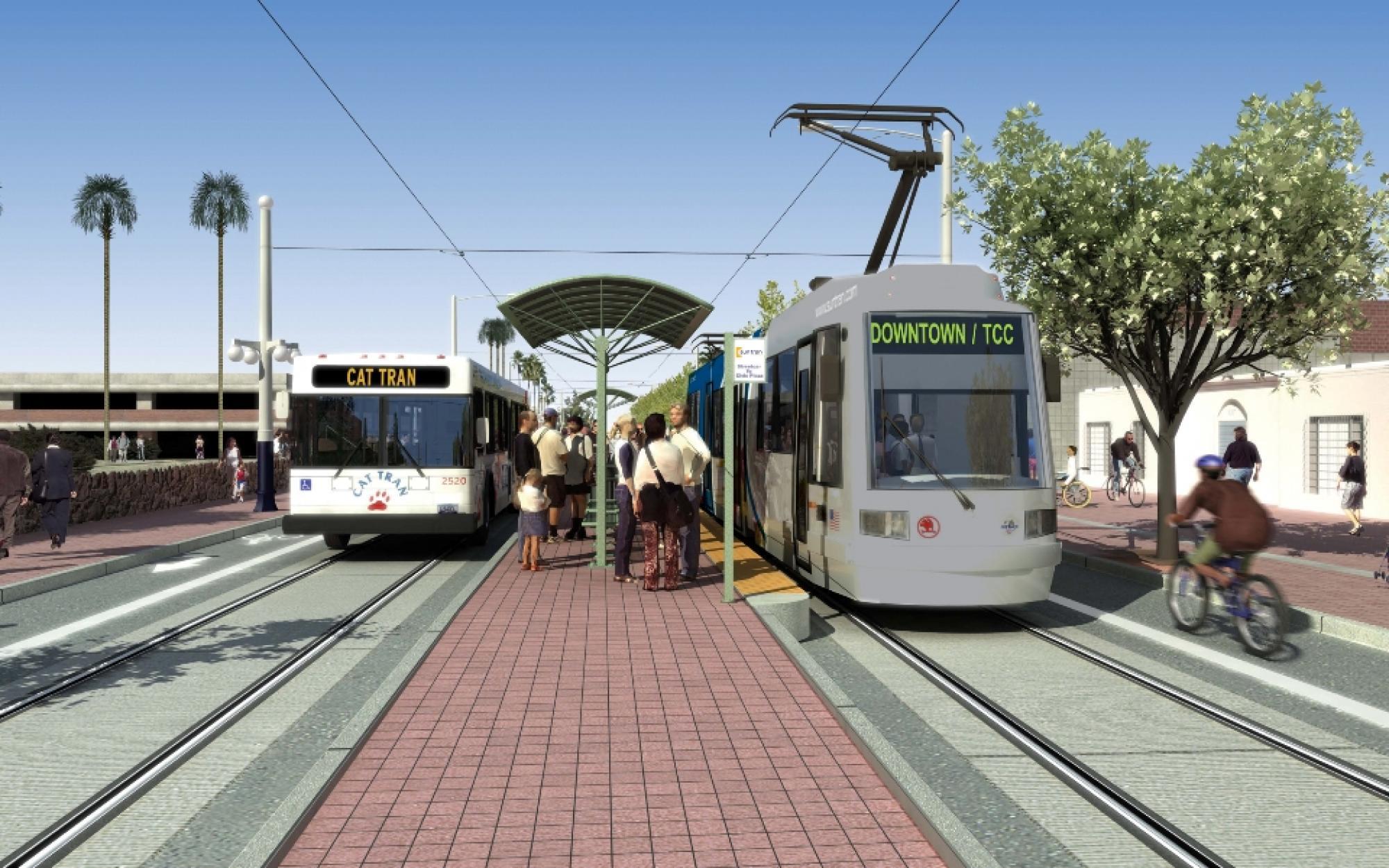Rending of the modern streetcar alongside a UA CatTran.