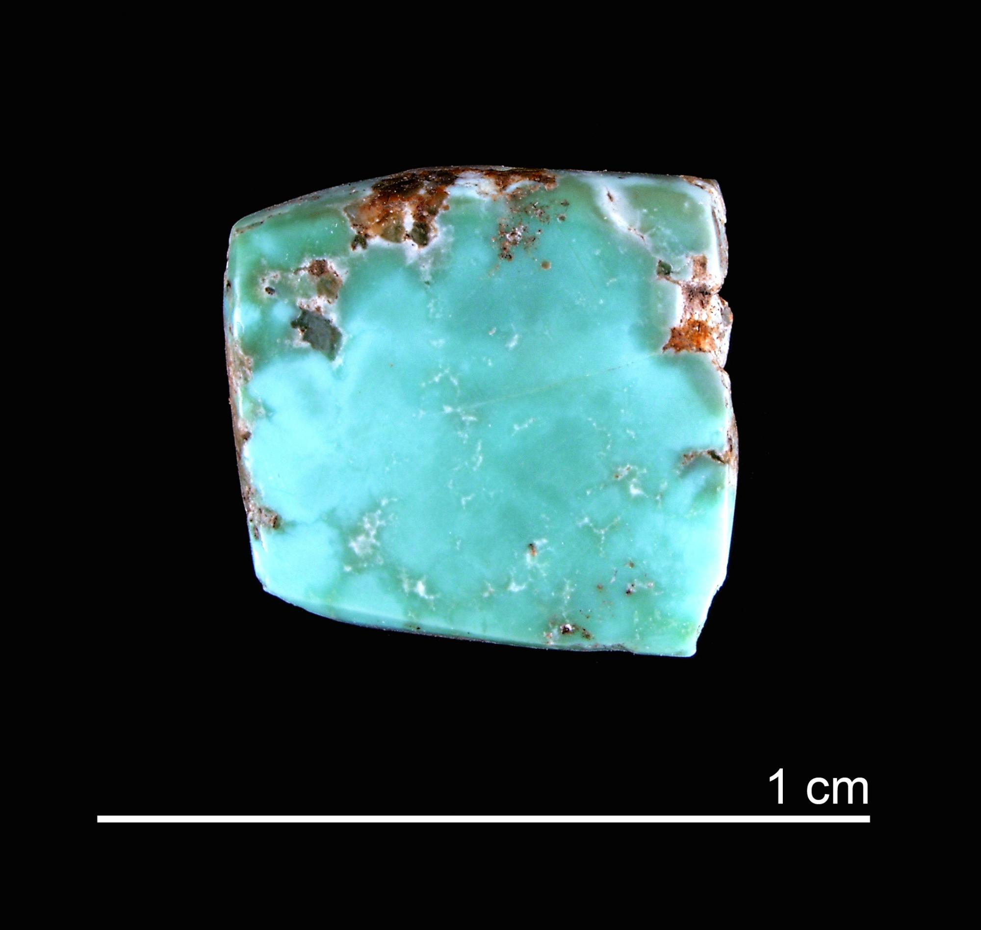 Based on isotopic analysis, researchers were able to match samples from Canyon Creek to several turquoise artifacts, including this one, that are currently housed in museums.