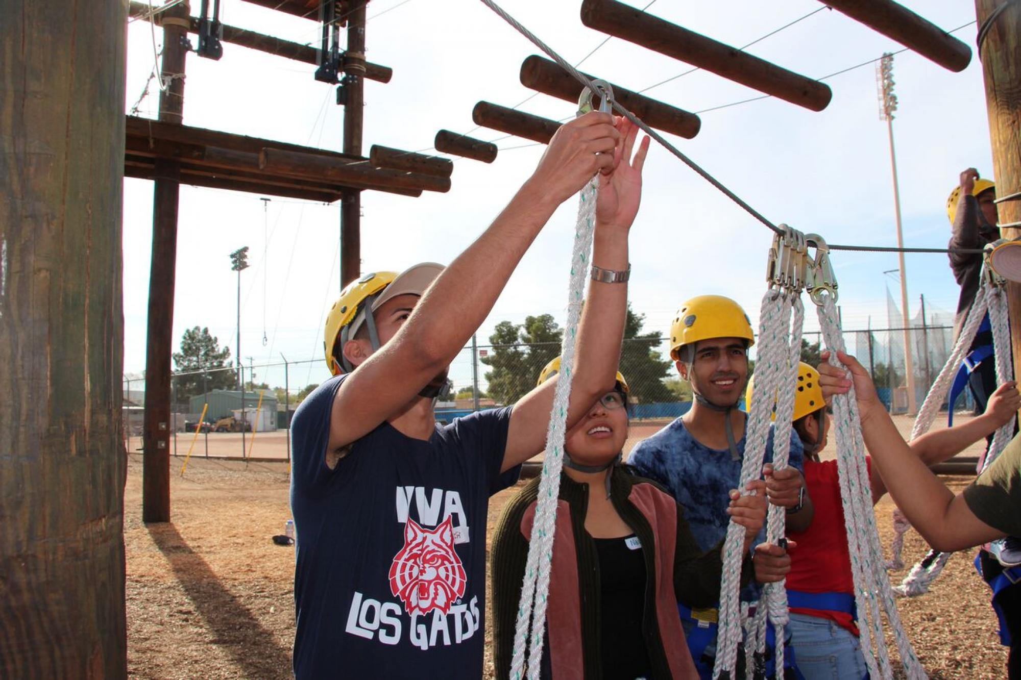 A ropes course helps teach the students about the importance of working together.