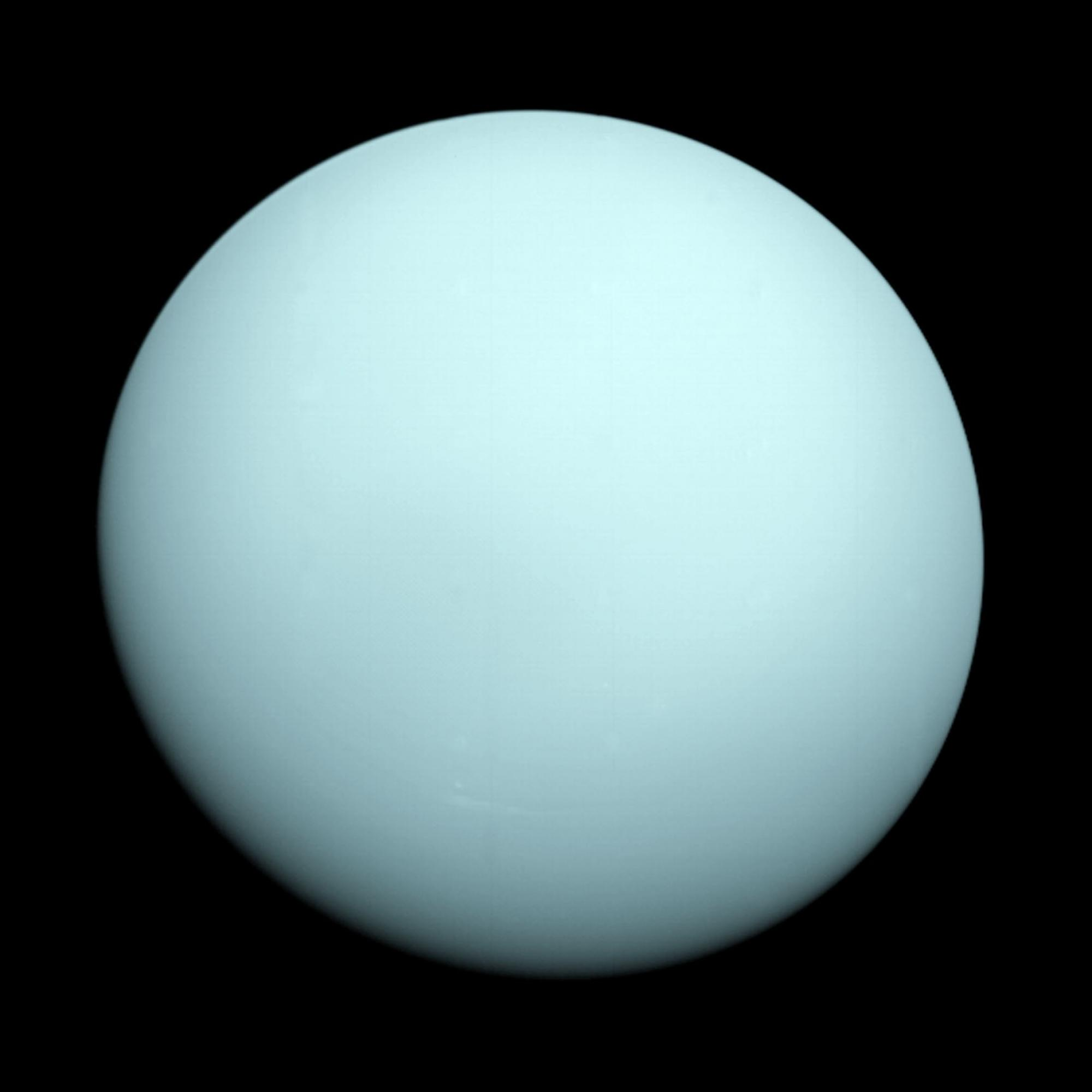 Uranus as photographed by Voyager-2 in 1986.