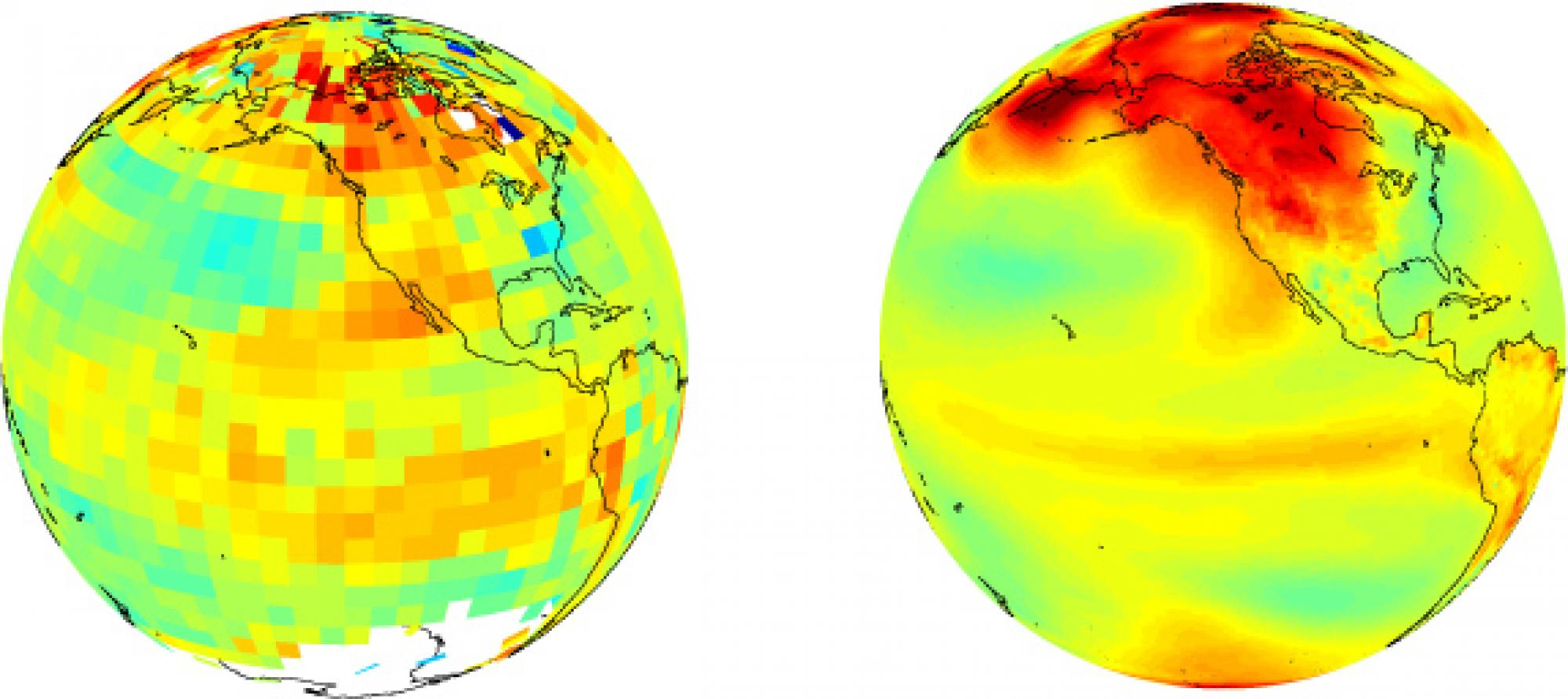 Earth's map showing observed vs model-predicted air temperature trend from 1970 to 1999. More than 50  such simulations were analyzed for this study