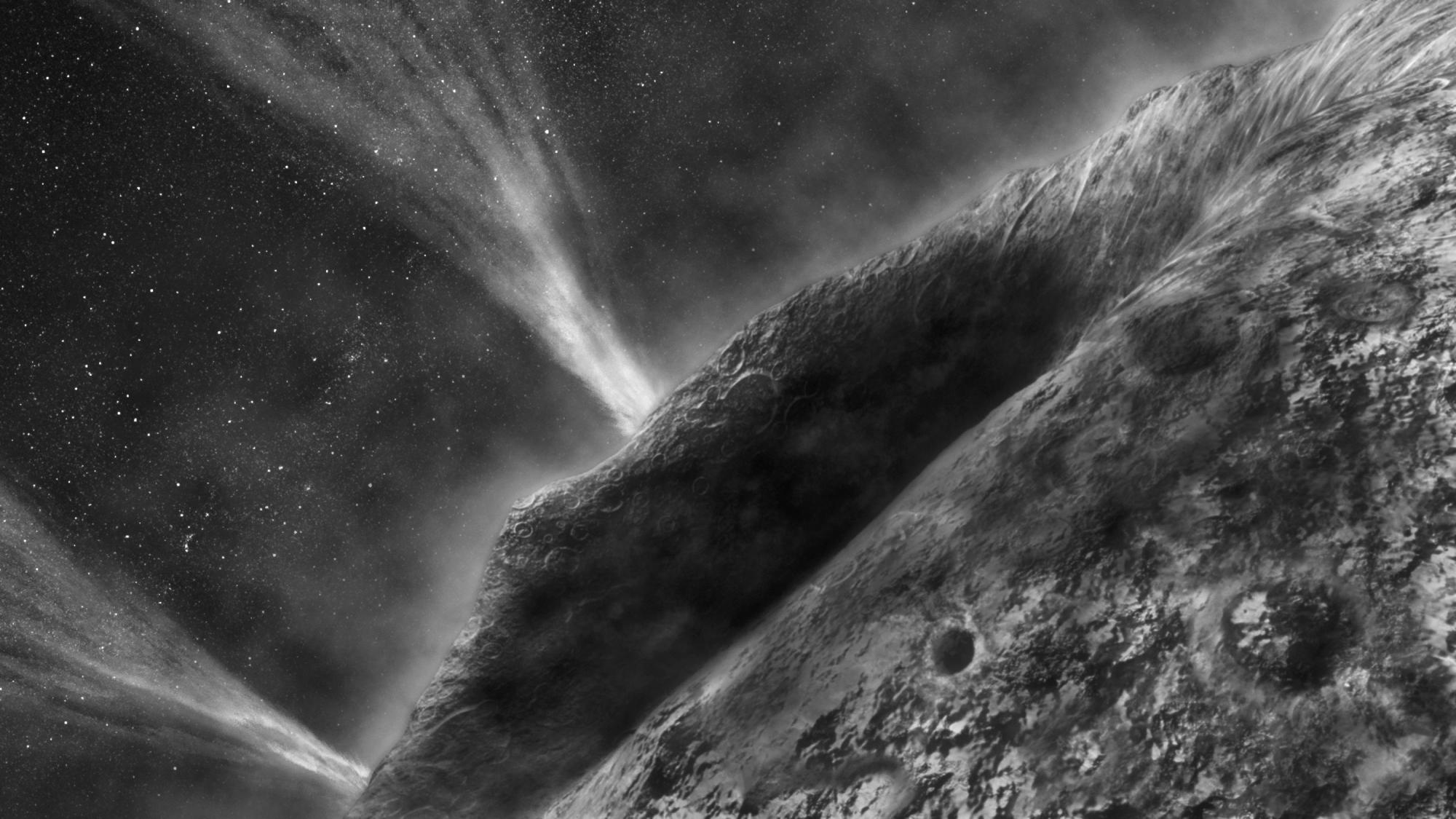 This artist's impression shows the irregular surface of comet Wild-2 and jets spouting into space at speeds of several hundred kilometers per hour. A UA-led team of scientists now found evidence that Wild-2 harbored liquid water at some point in its histo
