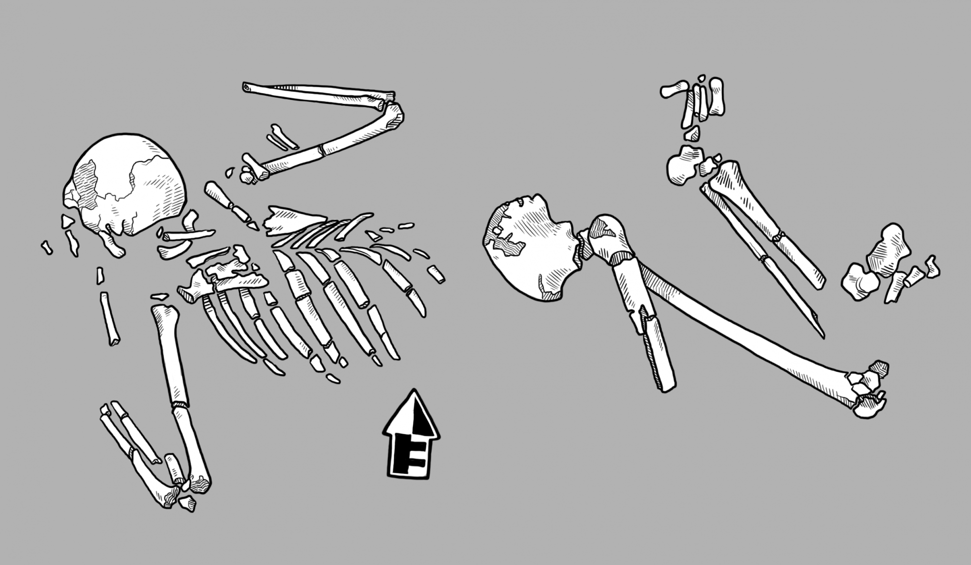 Atypical burials often include broken bones and other signs of violent death.