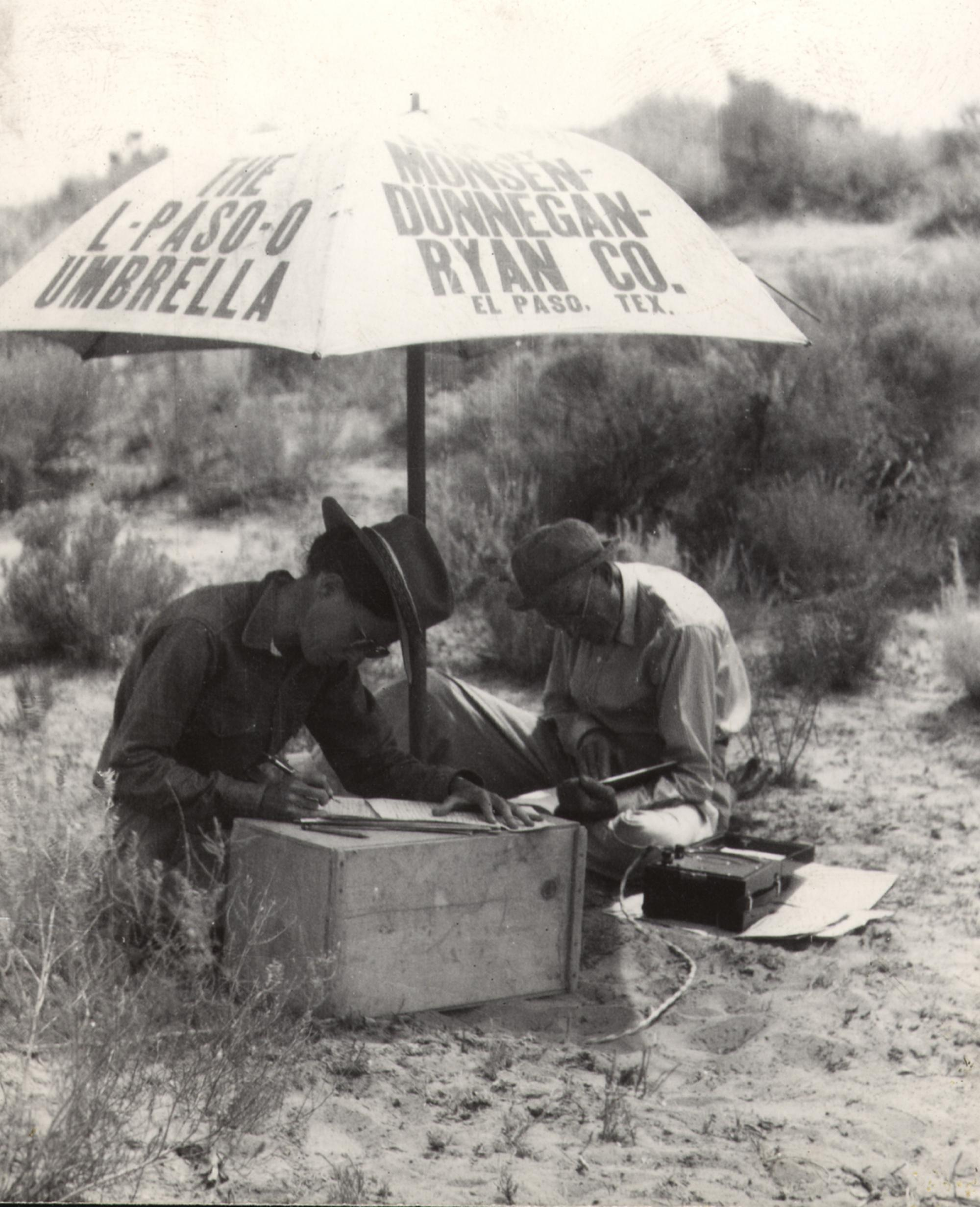 Watson Smith took this 1938 image of Anna Shepard and her father participating in excavations at the Awatovi Ruins on the Hopi Indian Reservation in northeastern Arizona.