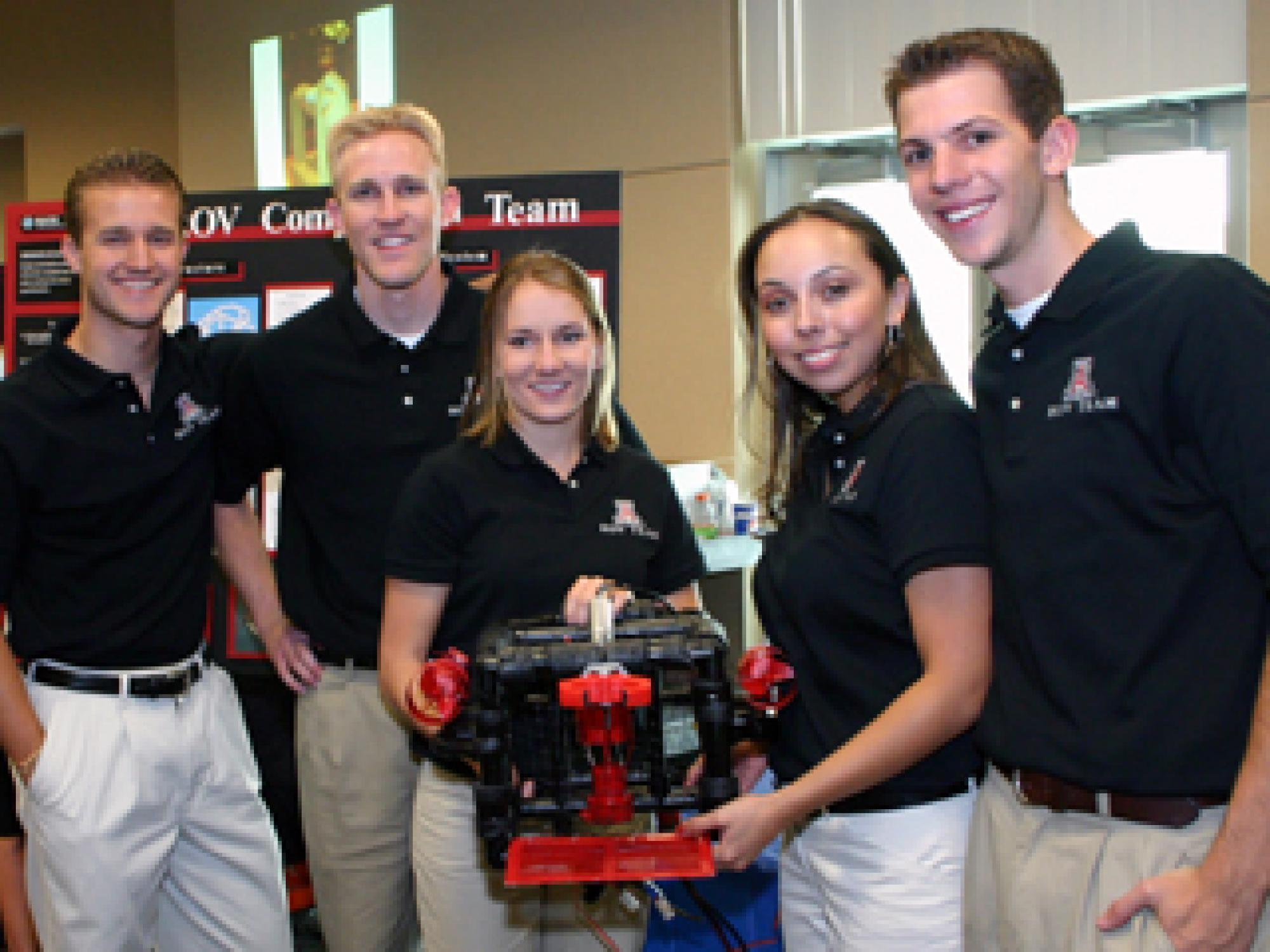 Five engineering seniors have built a remotely controlled submarine that's designed to take on hazardous missions. They will take the sub to a national competition for robotic submarines at UC Santa Barbara in June. The team members, all mechanical engine