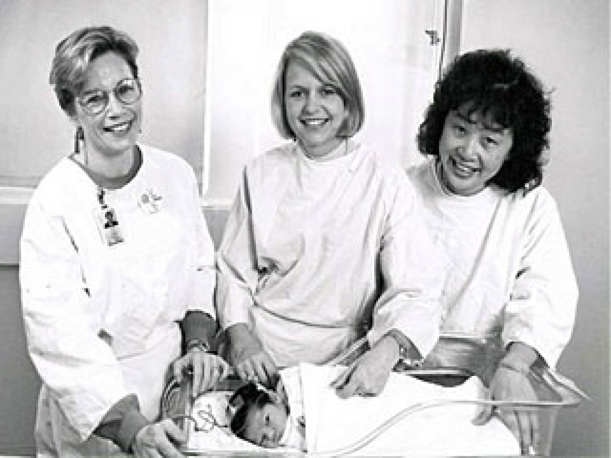Barbara Cone-Wesson, Yvonne Sininger, and Ellen Ma  collaborated in a major project to optimize methods used in newborn hearing screenings. Sininger and Cone-Wesson have discovered that humans respond to different sounds with different ears from birth.
