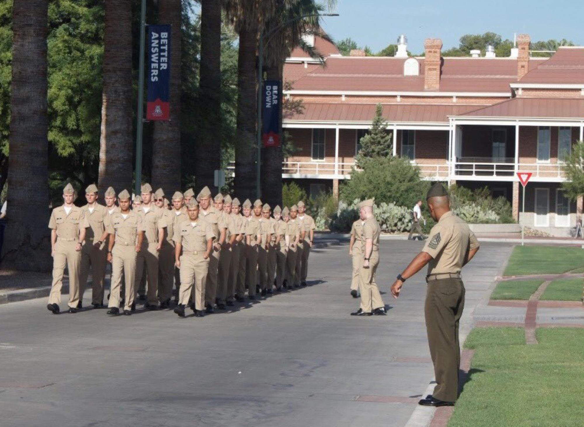New UA NROTC marched on the Mall during Friday's integration ceremony.