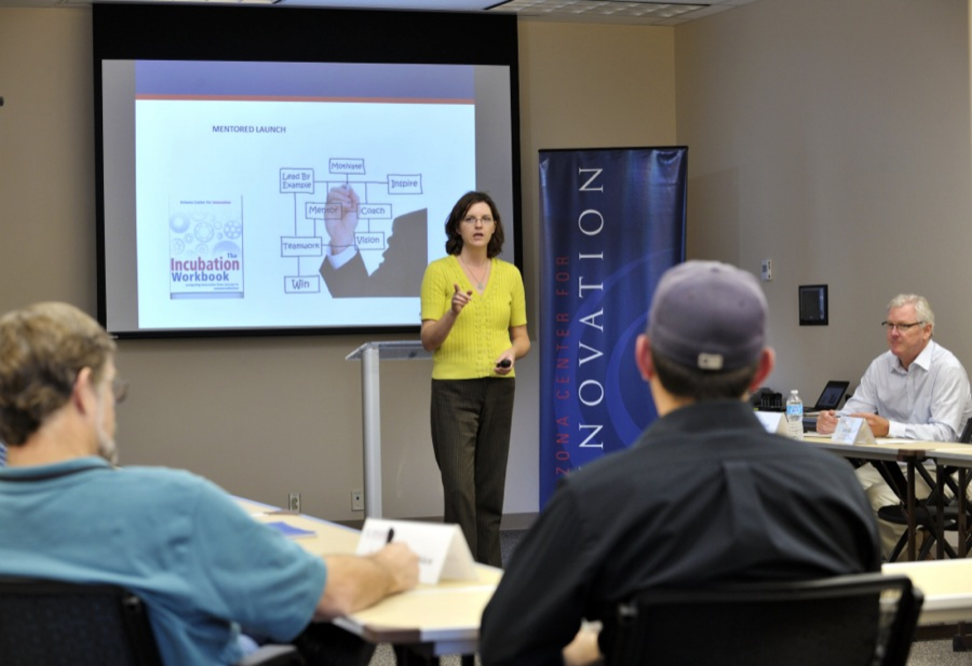 Anita Bell, acting director for the Arizona Center for Innovation, housed at the UA Tech Park, conducts a workshop as part of the Mentored Launch program for startup companies.