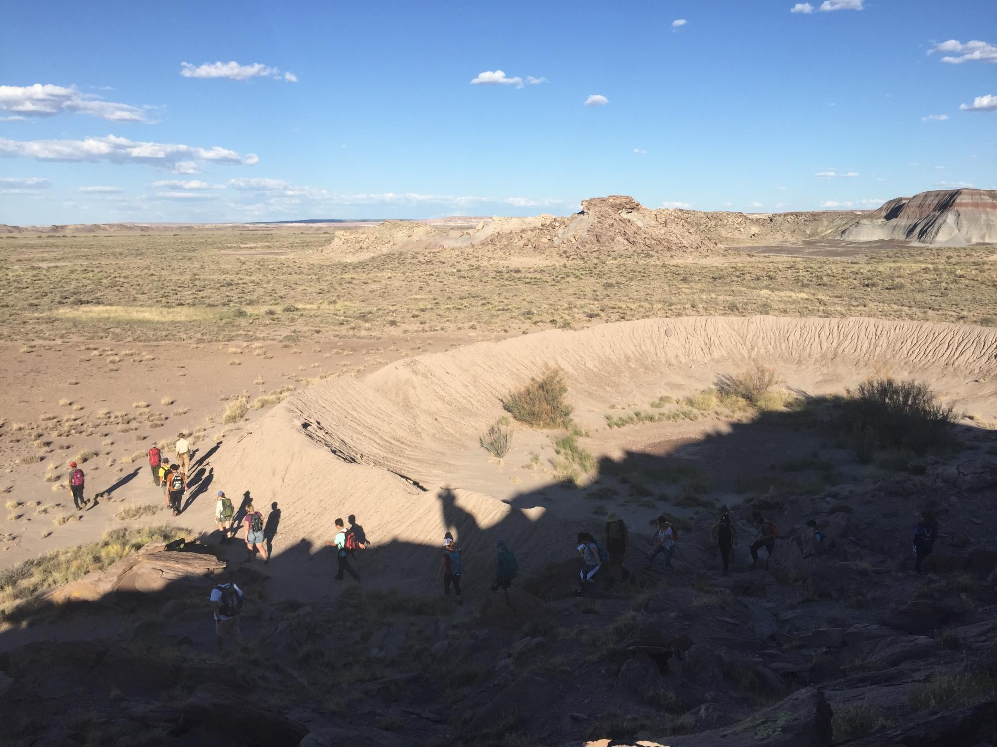 Graduate students explored a crater in the Canyon de Chelly National Monument in northeastern Arizona last fall.