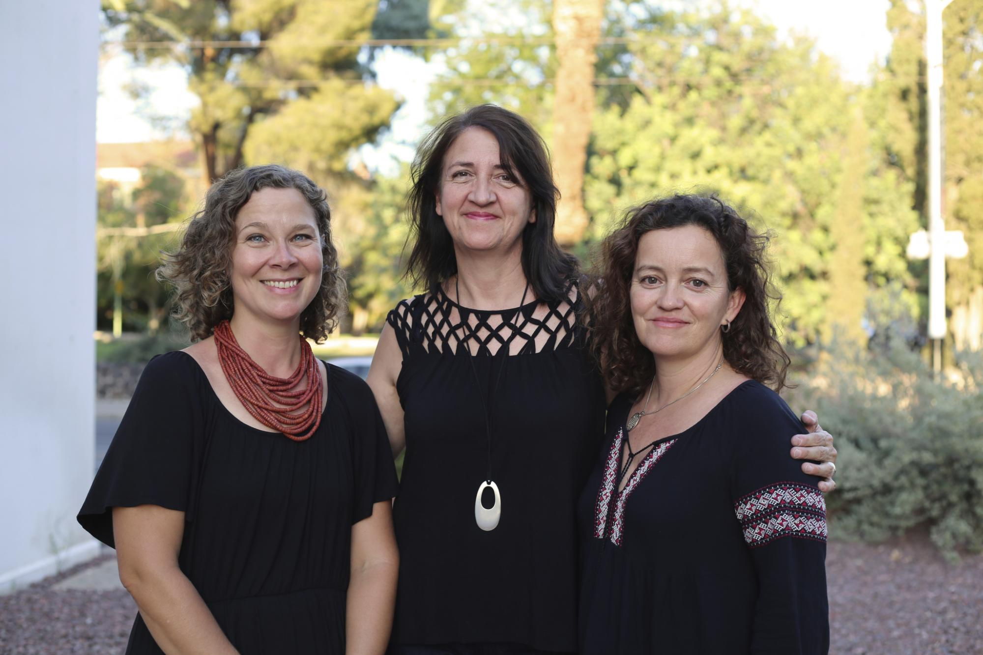 The Center for Educational Resources in Culture, Language and Literacy's core team:  Co-Directors Chantelle Warner and Beatrice Dupuy, and Associate Director Kate Mackay