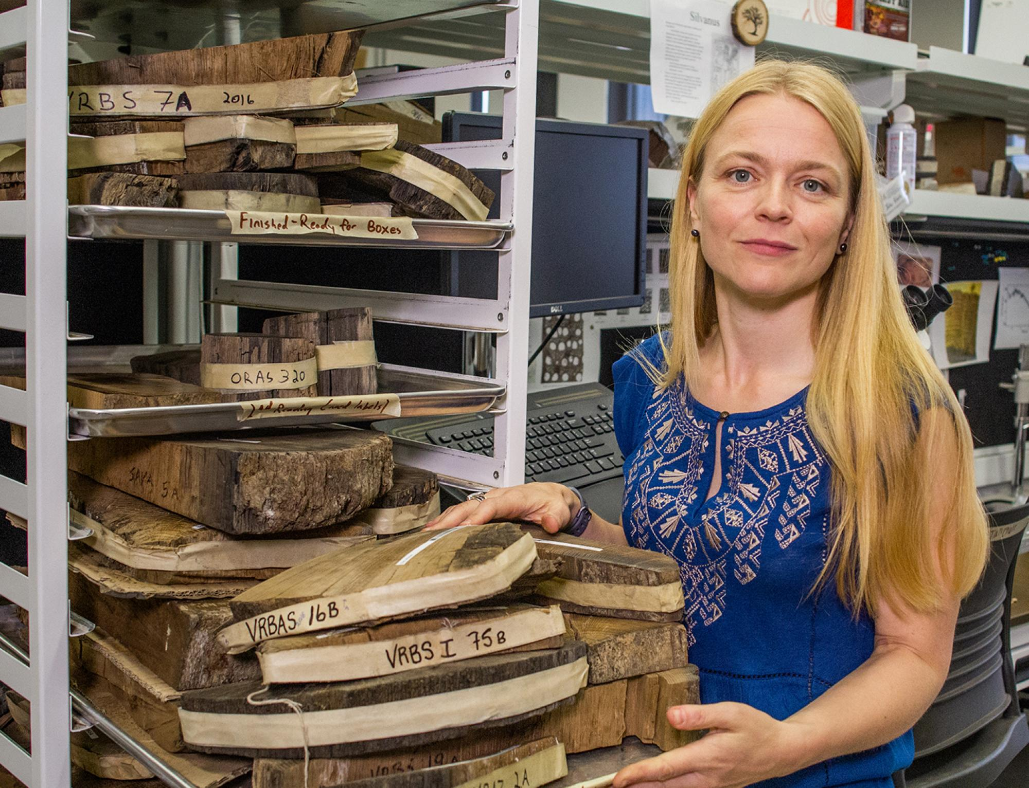 Charlotte Pearson analyzed annual tree rings from bristlecone pines and Irish oak to more accurately estimate the date of the Thera eruption.