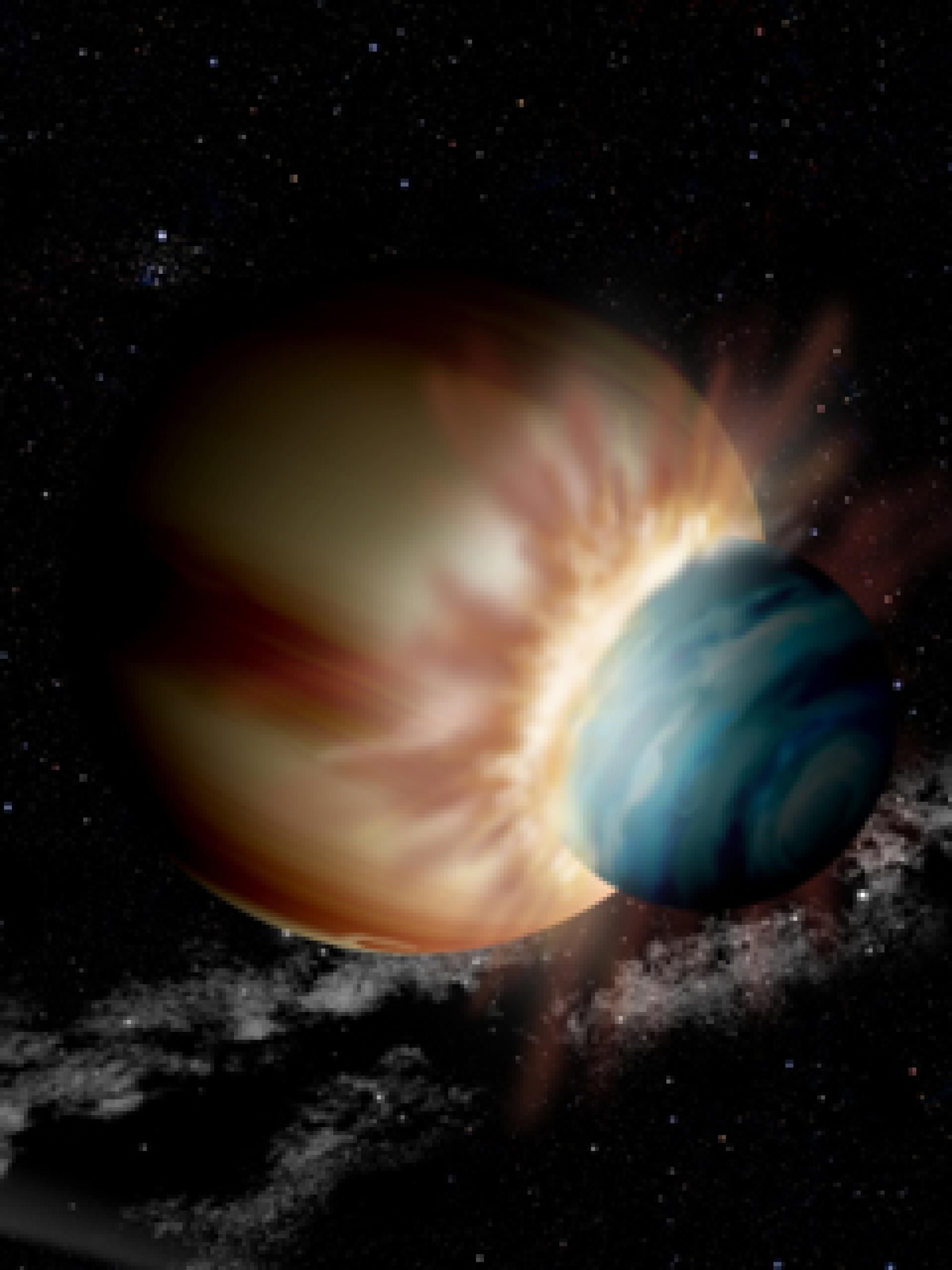 Artist's concept of colliding protoplanets.