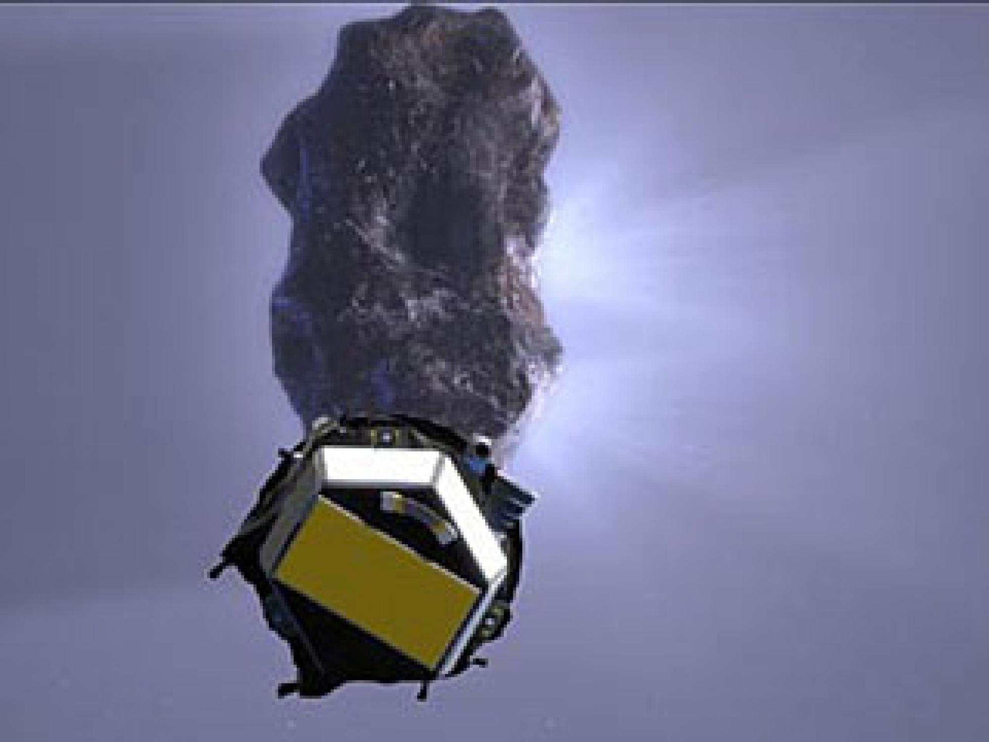 Deep Impact Encounter - Artist's concept showing impactor spacecraft approaching comet Tempel 1.
