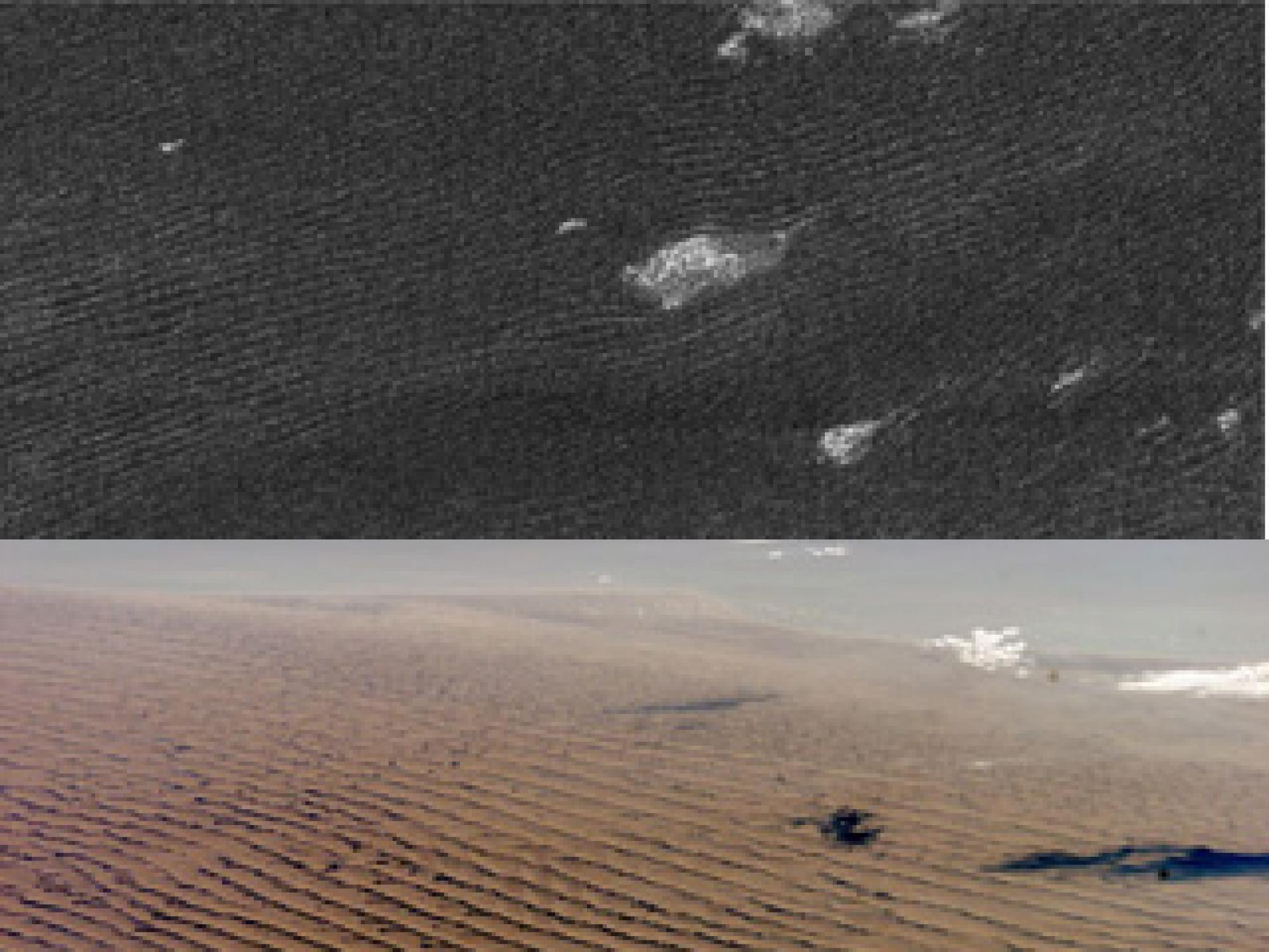 Cassini radar sees sand dunes on Saturn's giant moon Titan  that are sculpted like Namibian sand dunes on Earth . The bright features in the upper radar photo are not clouds but topographic features among the dunes.