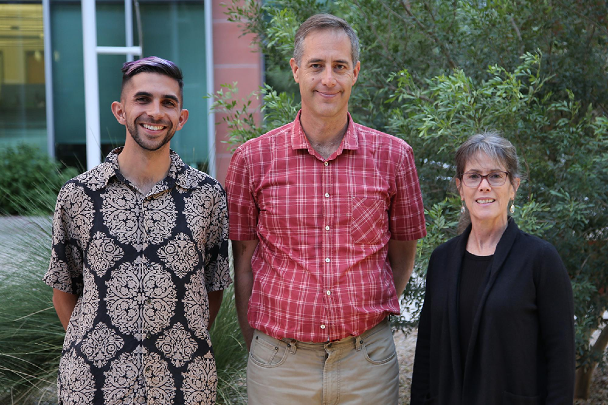 From left: Dual M.D./Ph.D. student Alexander Alvarez, Russell Witte and Sonia Vohnout.