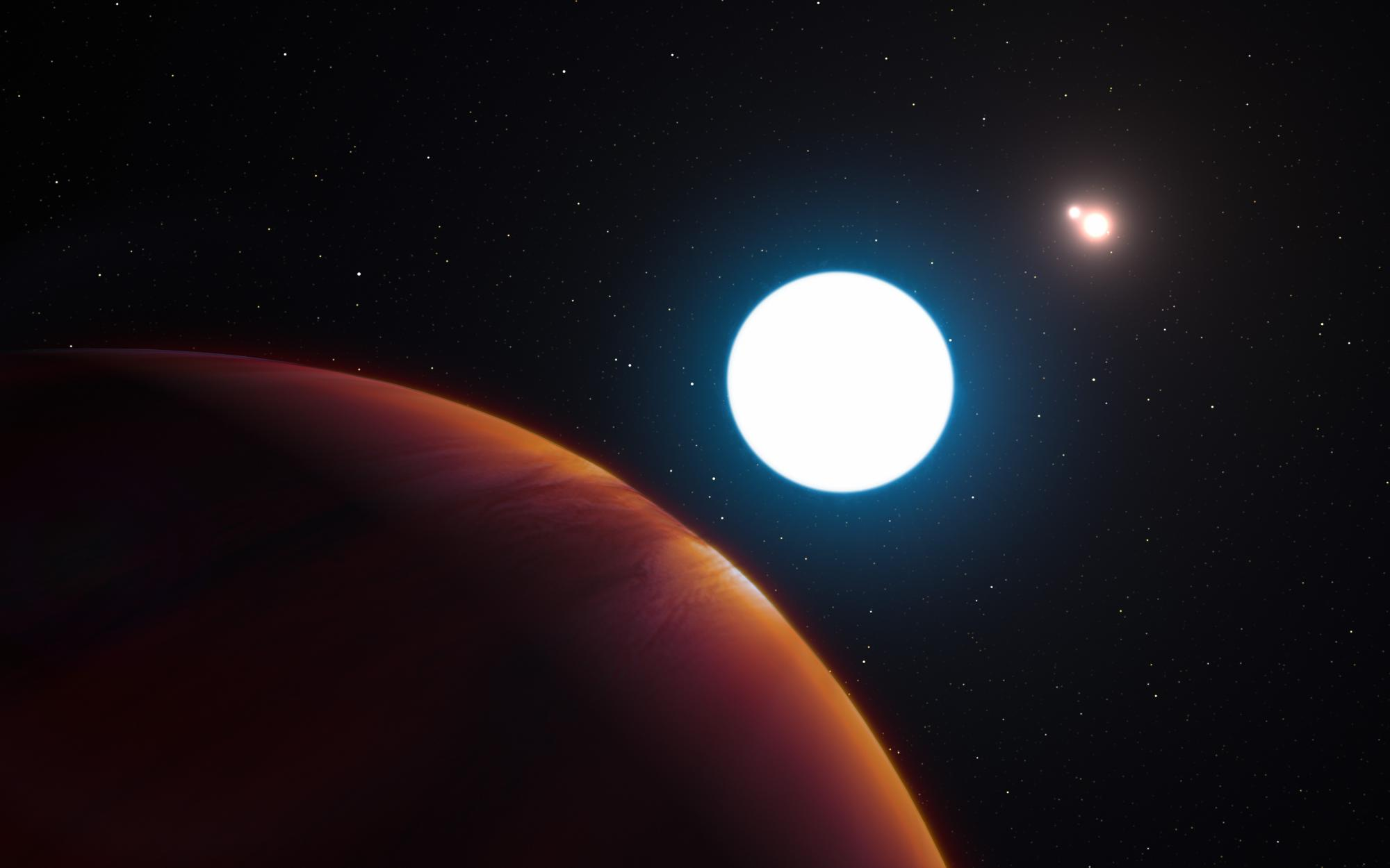 Triple sunrise: This artist's impression shows a view of the triple star system HD 131399 from close to the giant planet orbiting in the system.