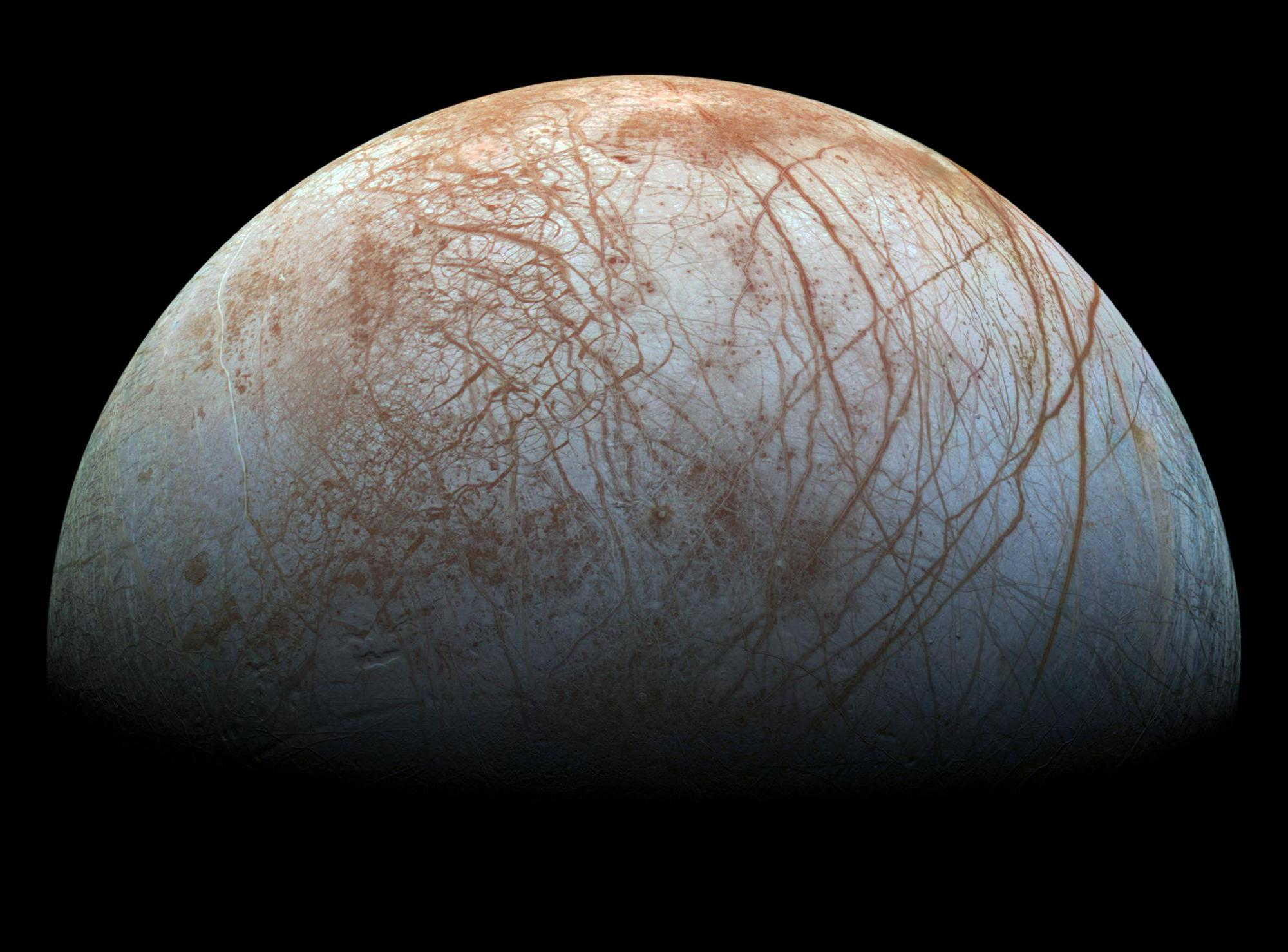 The fractured surface of Europa.