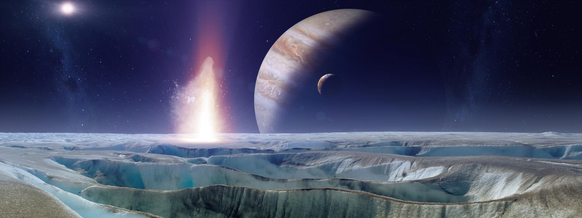 An artist's representation of the view of Jupiter and Io from the icy surface of Europa.