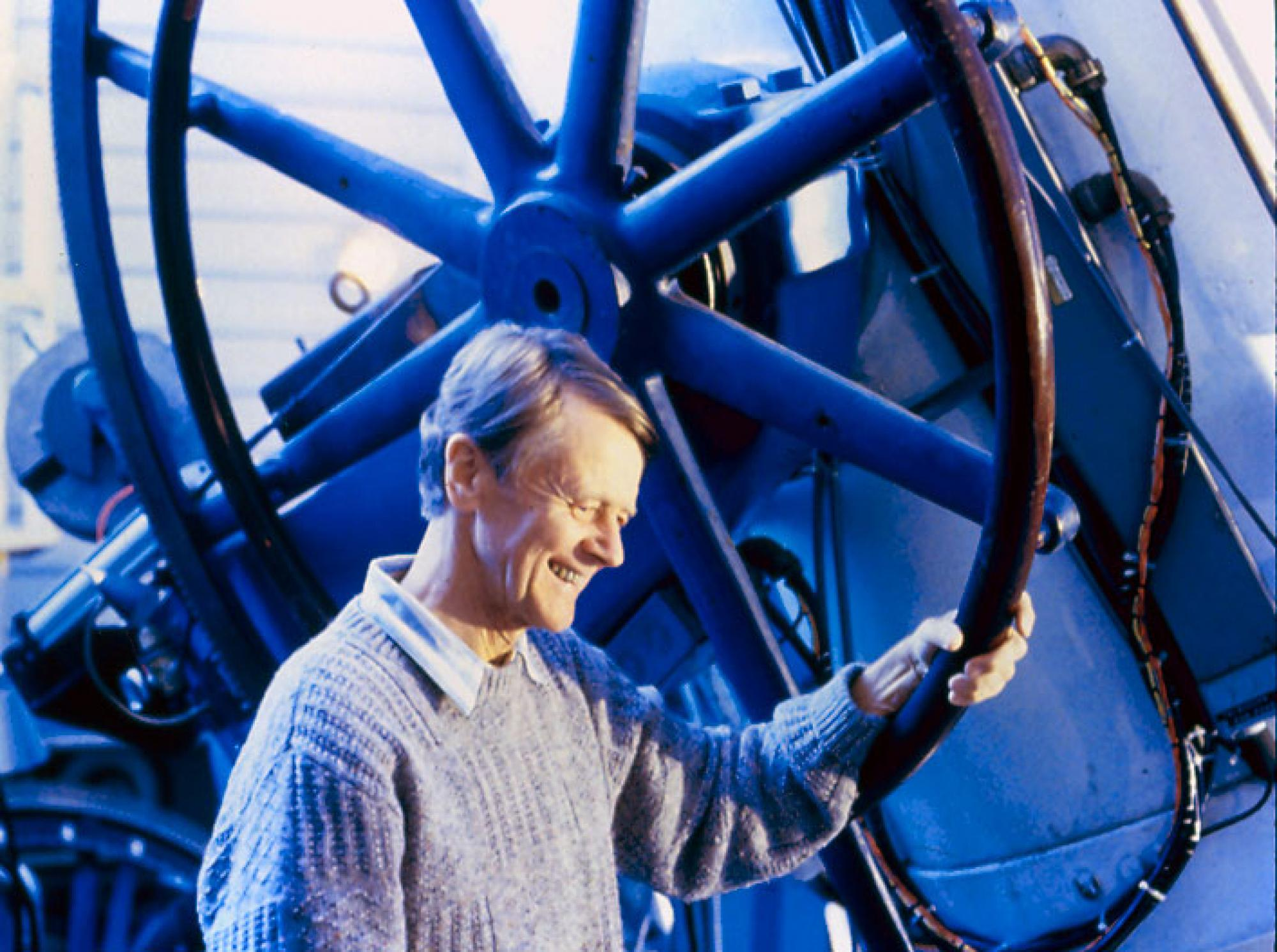 UA astronomer and planetary scientist Tom Gehrels at the 36-inch Spacewatch Telescope on Kitt Peak, Ariz.