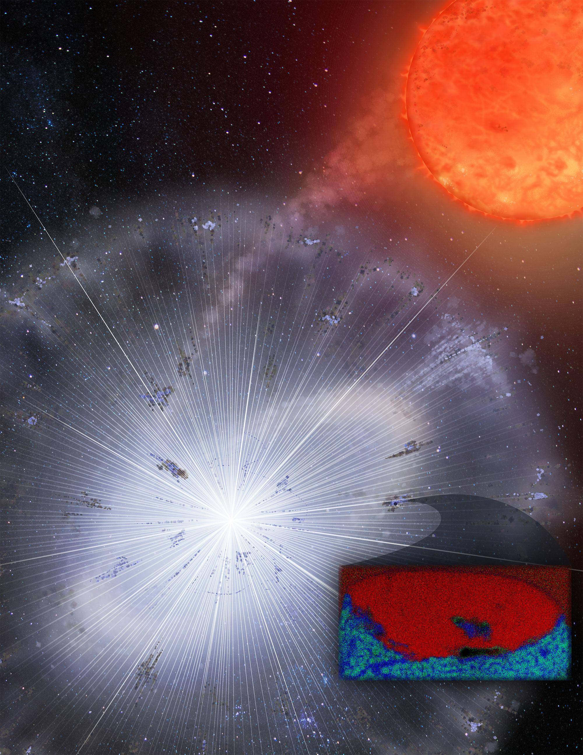 A team of researchers found a grain  encased in a meteorite that survived the formation of our solar system and analyzed it with instruments sensitive enough to identify single atoms in a sample. Measuring 1/25,000th of an inch, the carbon-rich graphite g
