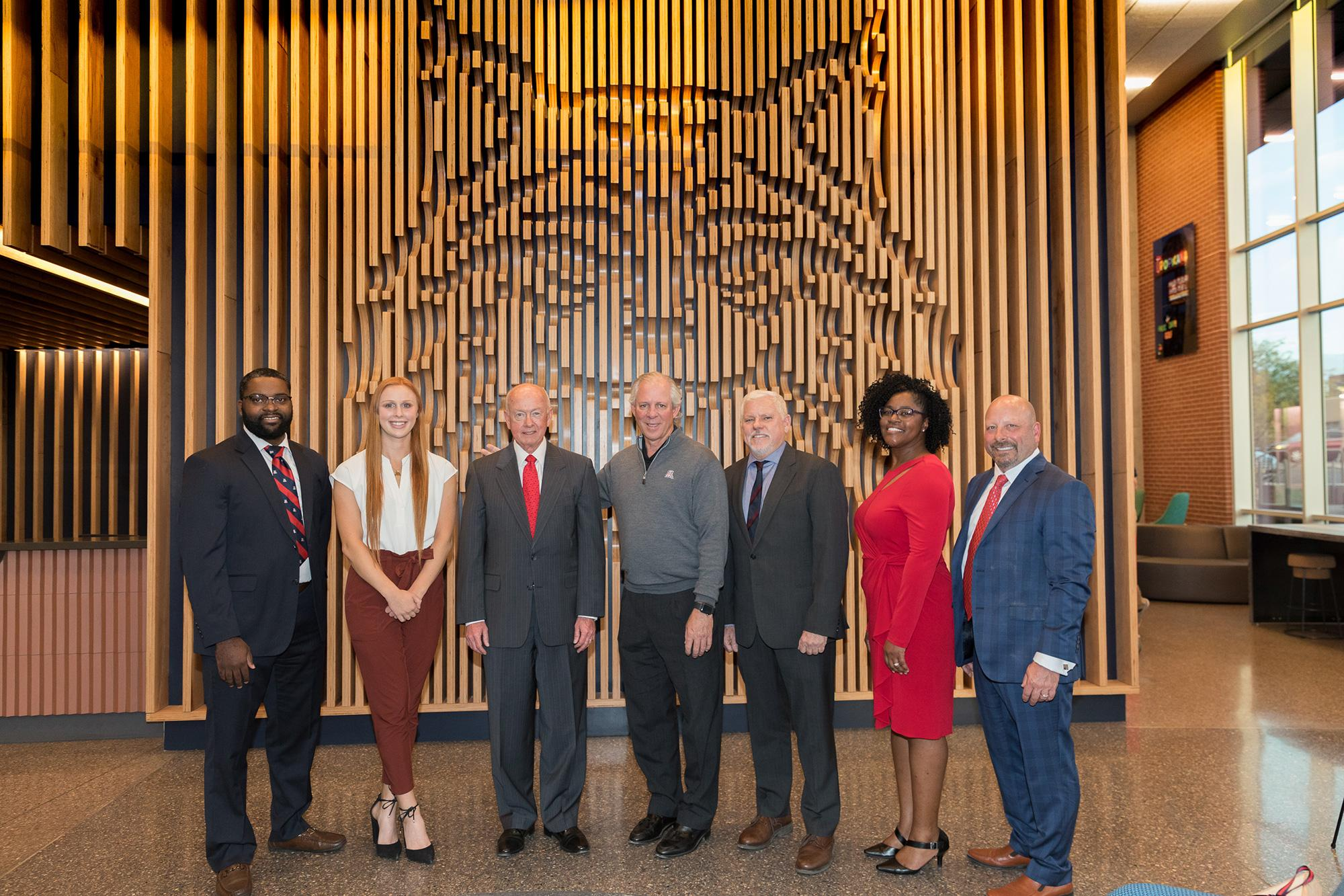 From left: Thomas Harris, assistant athletics director for diversity, inclusion and engagement; Jessy Forelli, Honors College student, Larry Penley, Arizona Board of Regents chairman; UArizona President Robert C. Robbins, Terry L. Hunt, Honors College dea