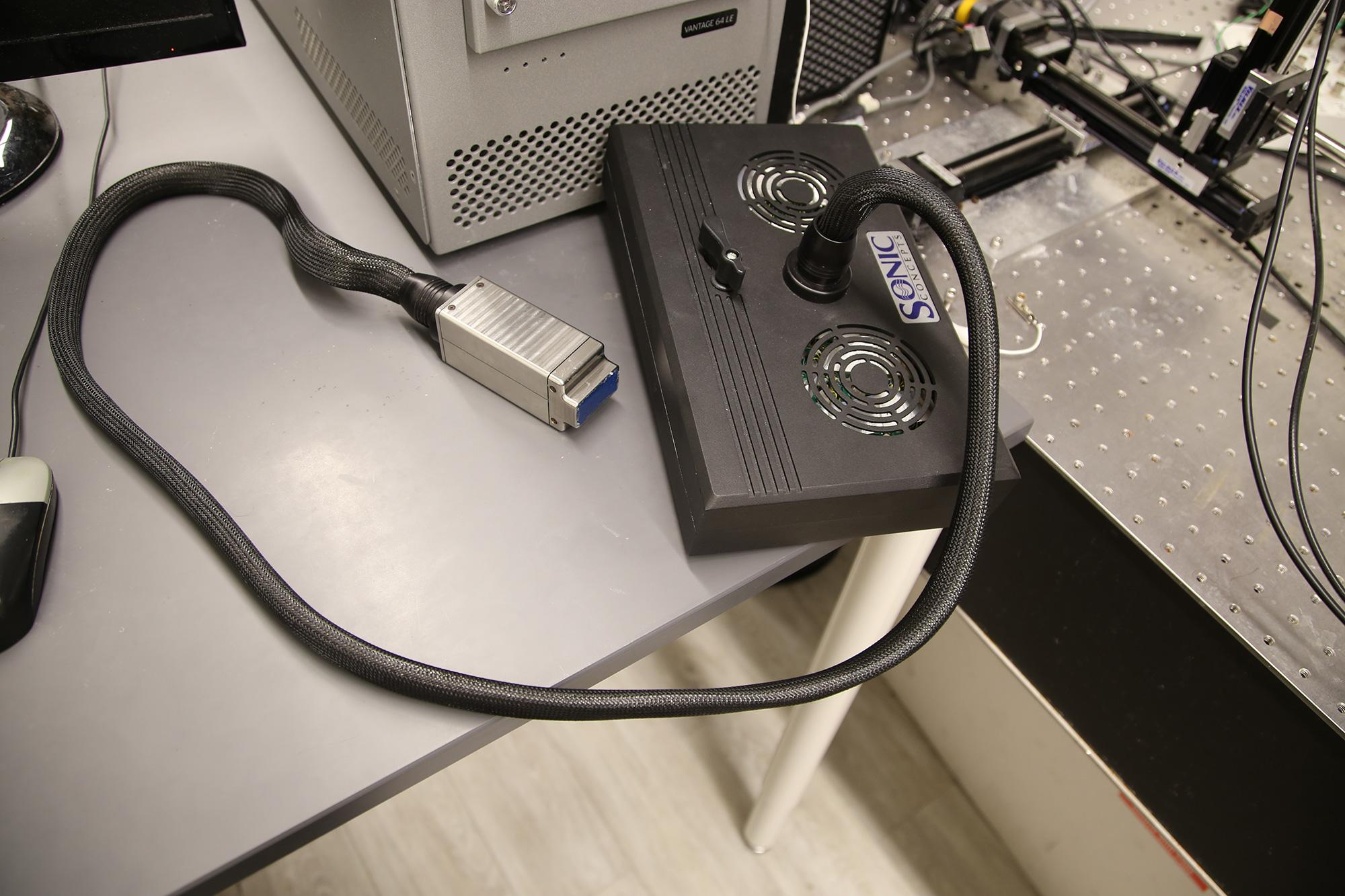 A lab prototype of the acoustoelectric cardiac imaging device.